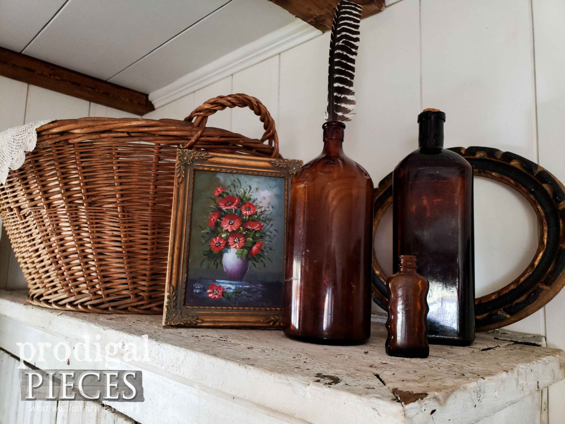 Amber Apothecary Bottle Vignette for Fall Decor in Farmhouse Bedroom by Larissa of Prodigal Pieces | prodigalpieces.com #prodigalpieces #vintage #farmhouse #home #homedecor