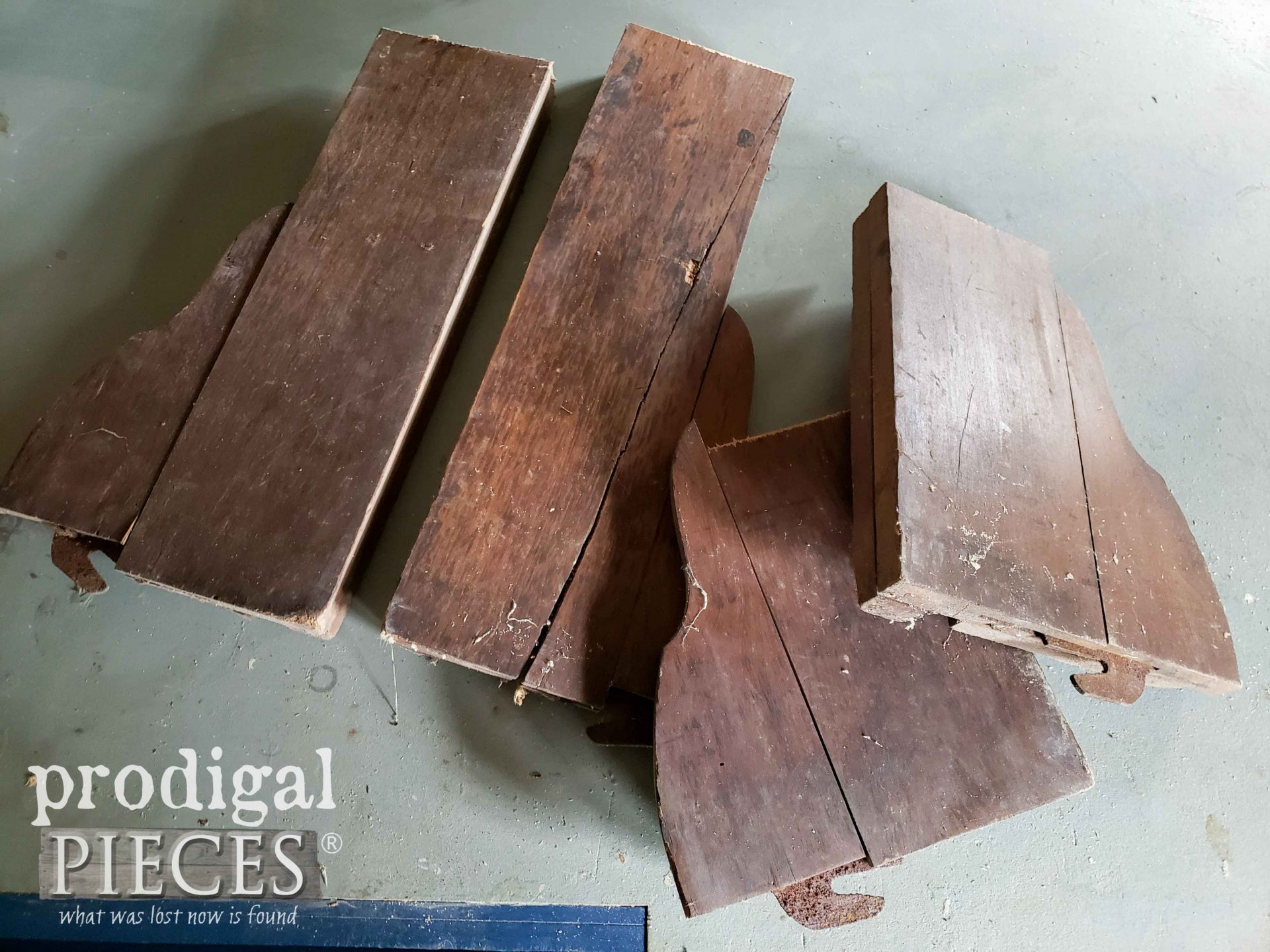 Salvaged Antique Bed Rail Parts Before Upcycle by Larissa of Prodigal Pieces | prodigalpieces.com #prodigalpieces