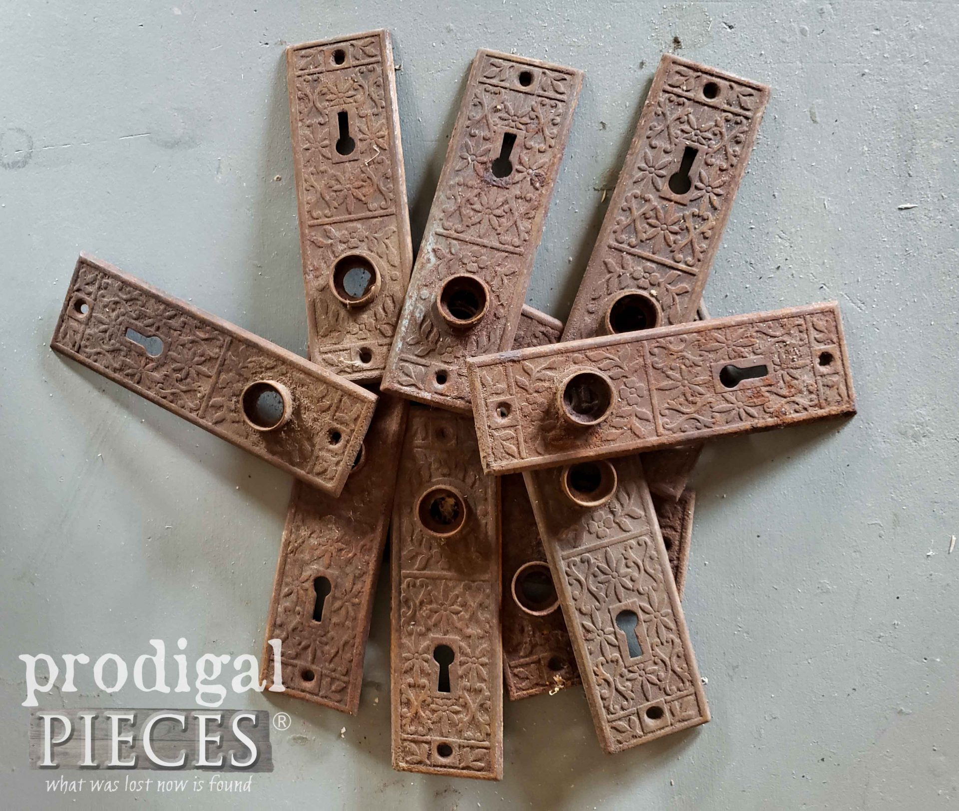 Antique Door Knob Backplates in their Rusty Goodness | prodigalpieces.com