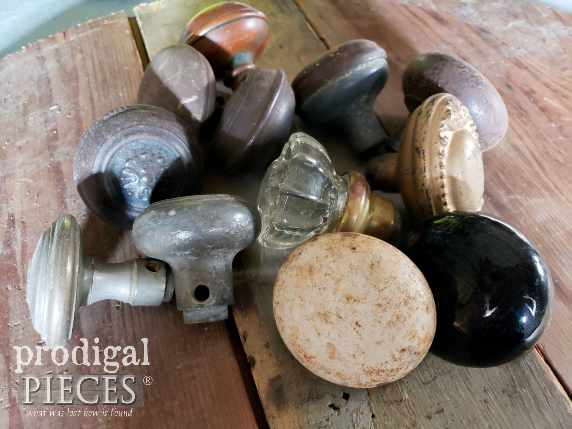 Pile of Mixed Lot of Antique Door Knobs | prodigalpieces.com