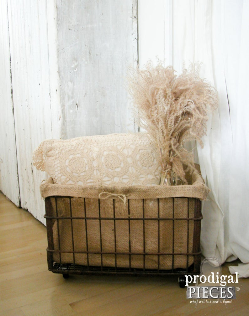 Antique Rusty Milk Crate Turned into Portable Storage by Larissa of Prodigal Pieces | prodigalpieces.com #prodigalpieces #shopping #handmade #home #farmhouse #homedecor
