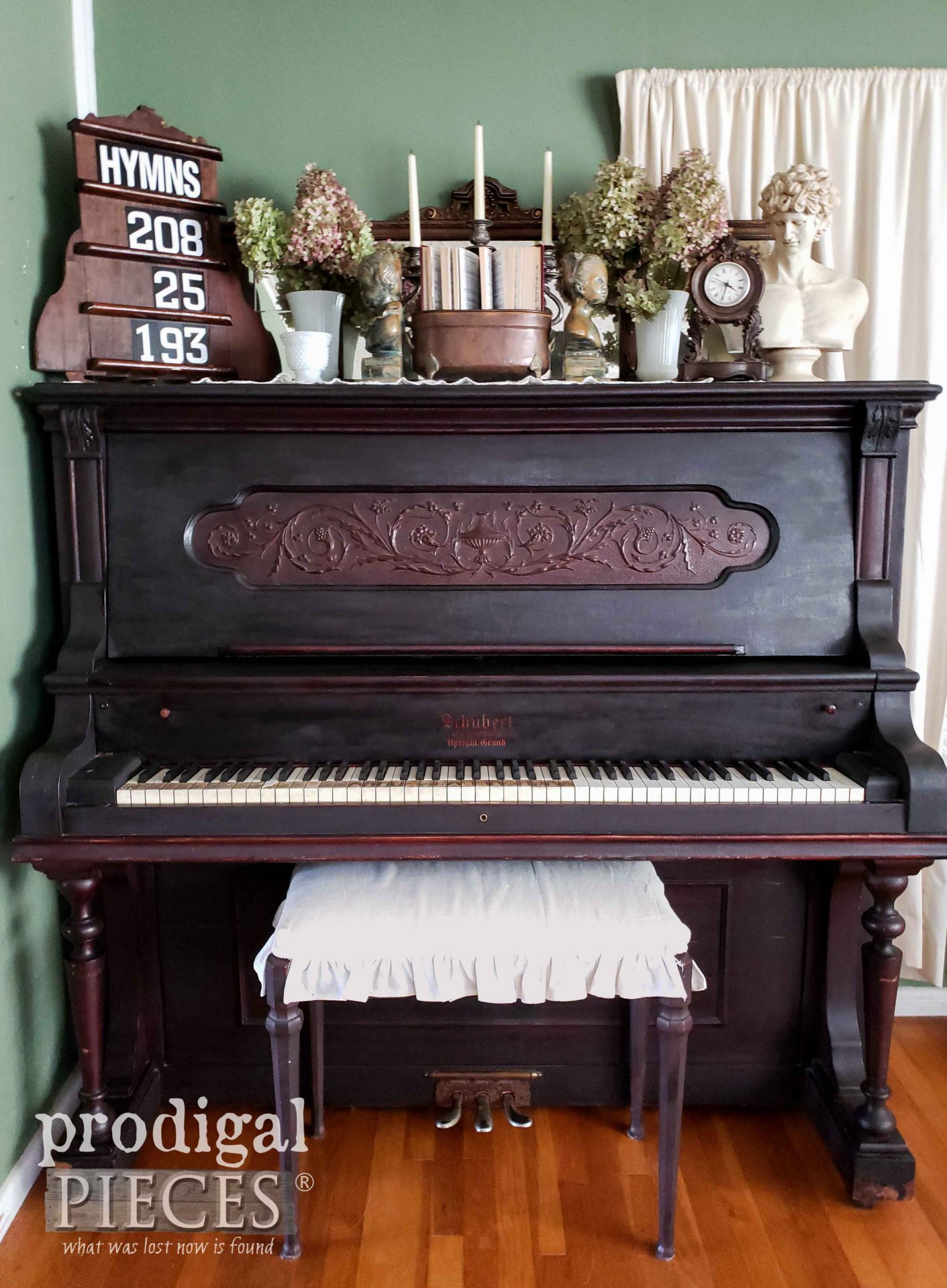 Antique Upright Grand Piano with Upcycled Hymn Board on Top by Larissa of Prodigal Pieces | prodigalpieces.com #prodigalpieces #farmhouse #piano #upcycled #diy #home #homedecor