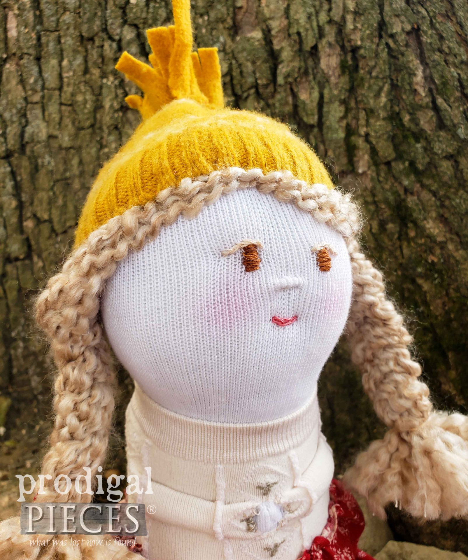Blonde Sock Doll with Braids by Larissa of Prodigal Pieces | prodigalpieces.com #prodigalpieces #diy #dolls #toys #sewing #handmade