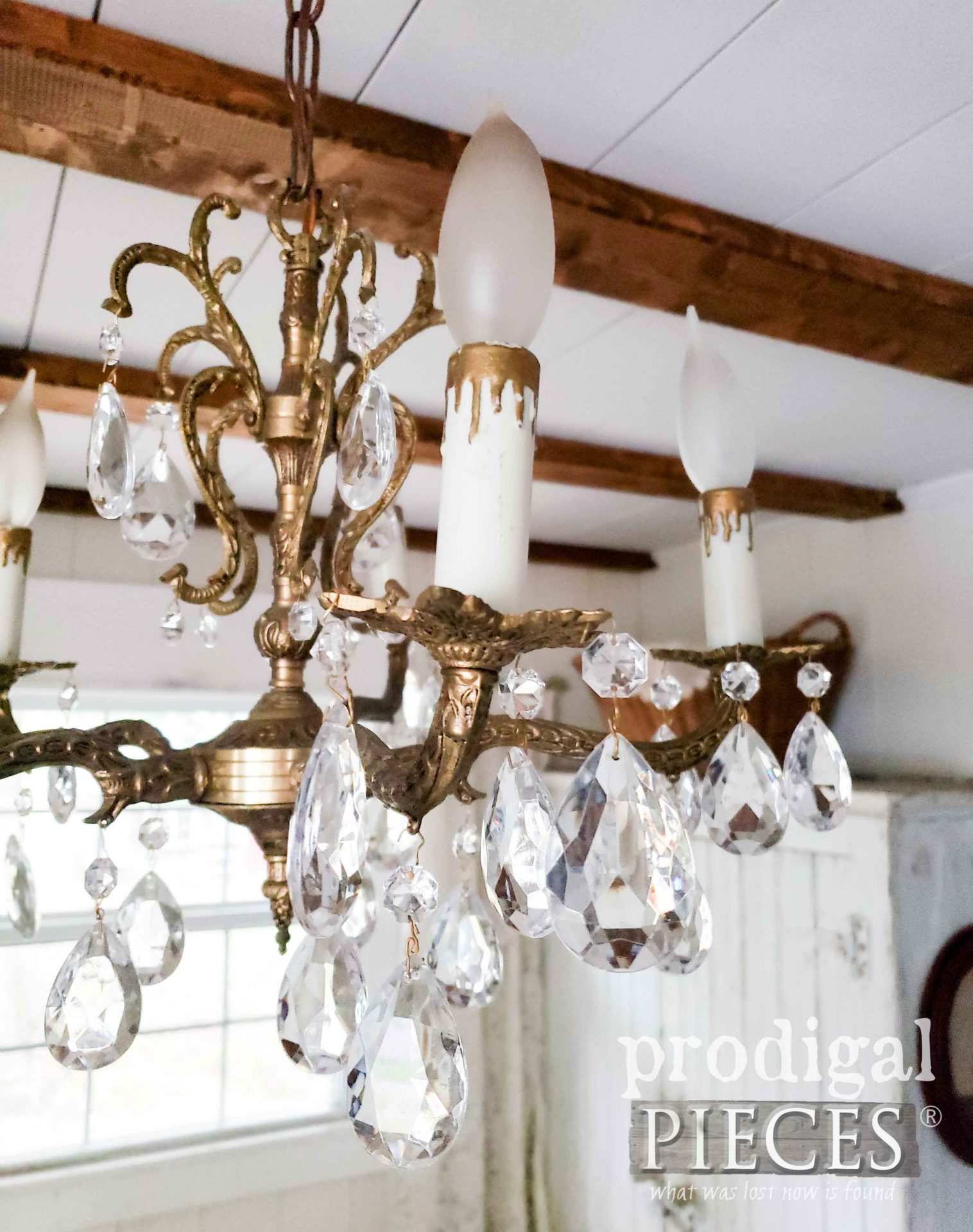 Antique Crystal and Brass Chandelier in Farmhouse Bedroom by Prodigal Pieces | prodigalpieces.com #prodigalpieces