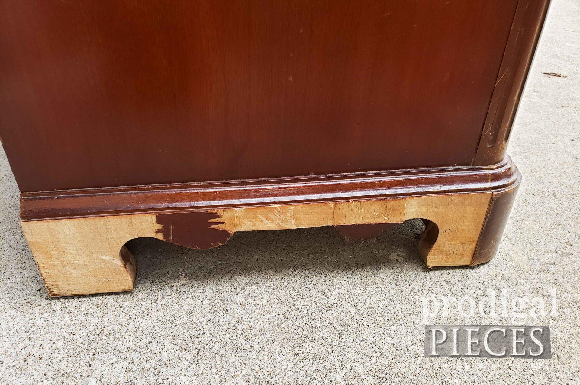 Damaged Left Side of Serpentine Dresser | prodigalpieces.com