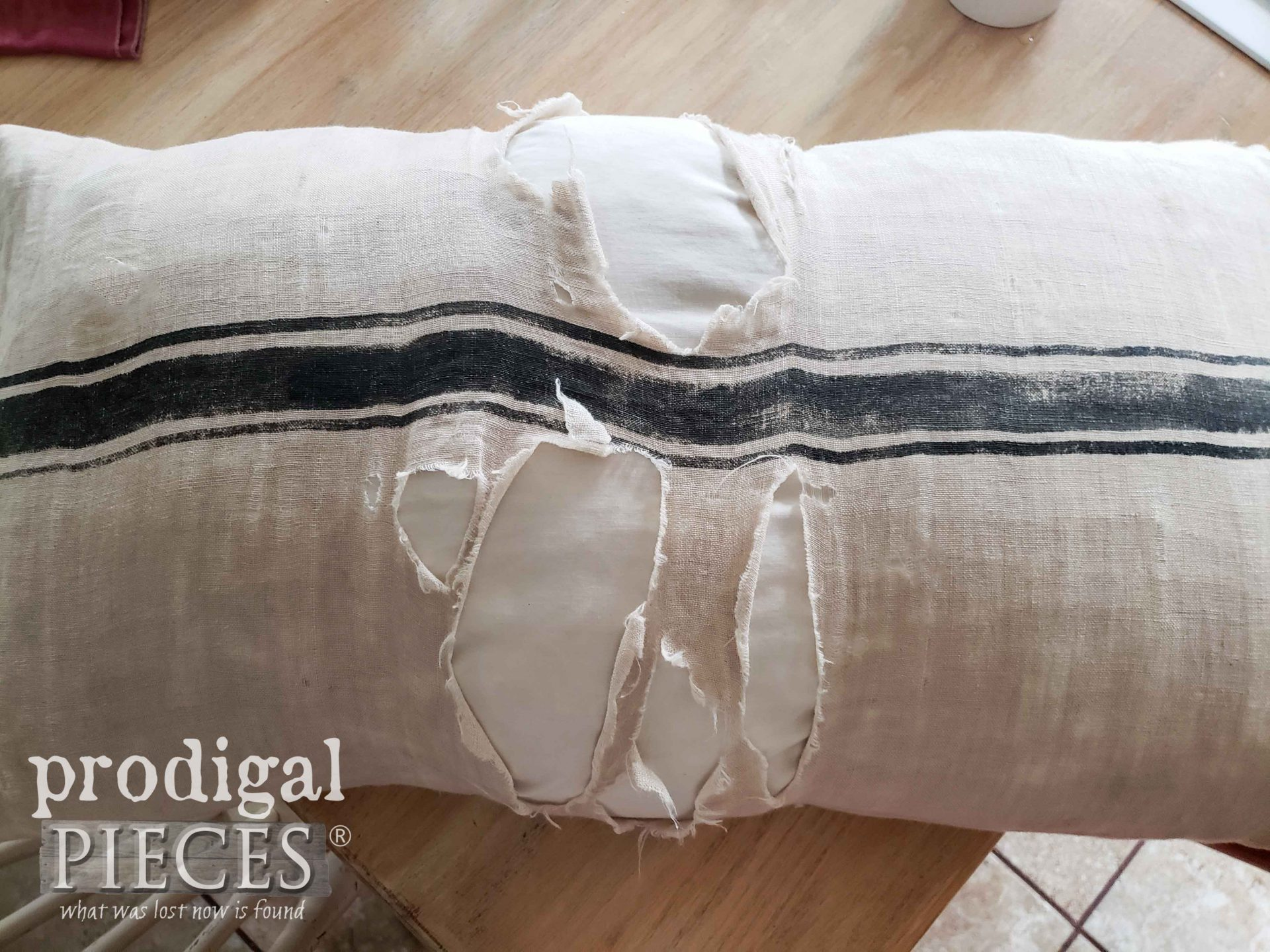 Damaged Linen Pillow | prodigalpieces.com #prodigalpieces
