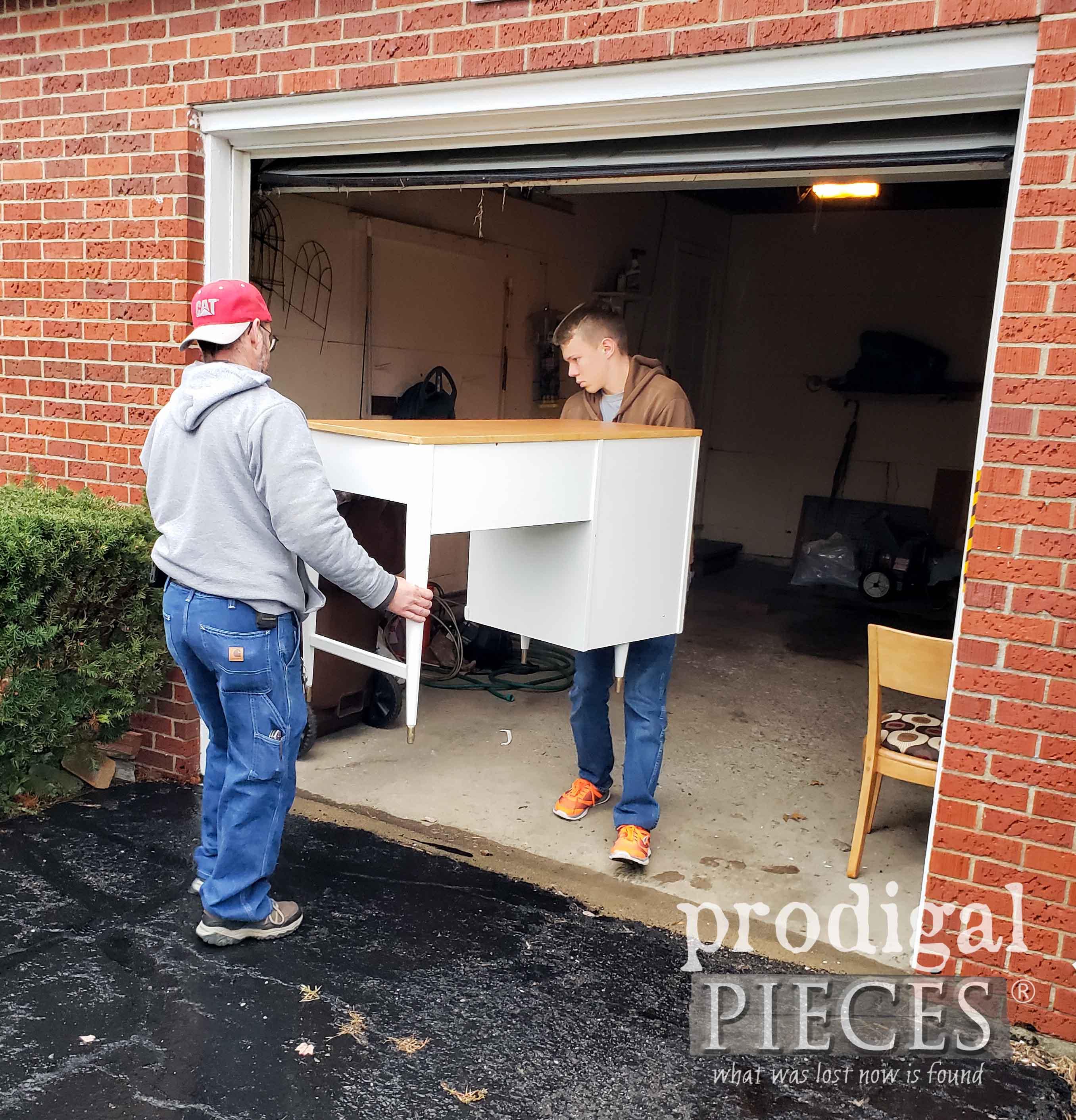Delivering Mid Century Modern Desk | prodigalpieces.com