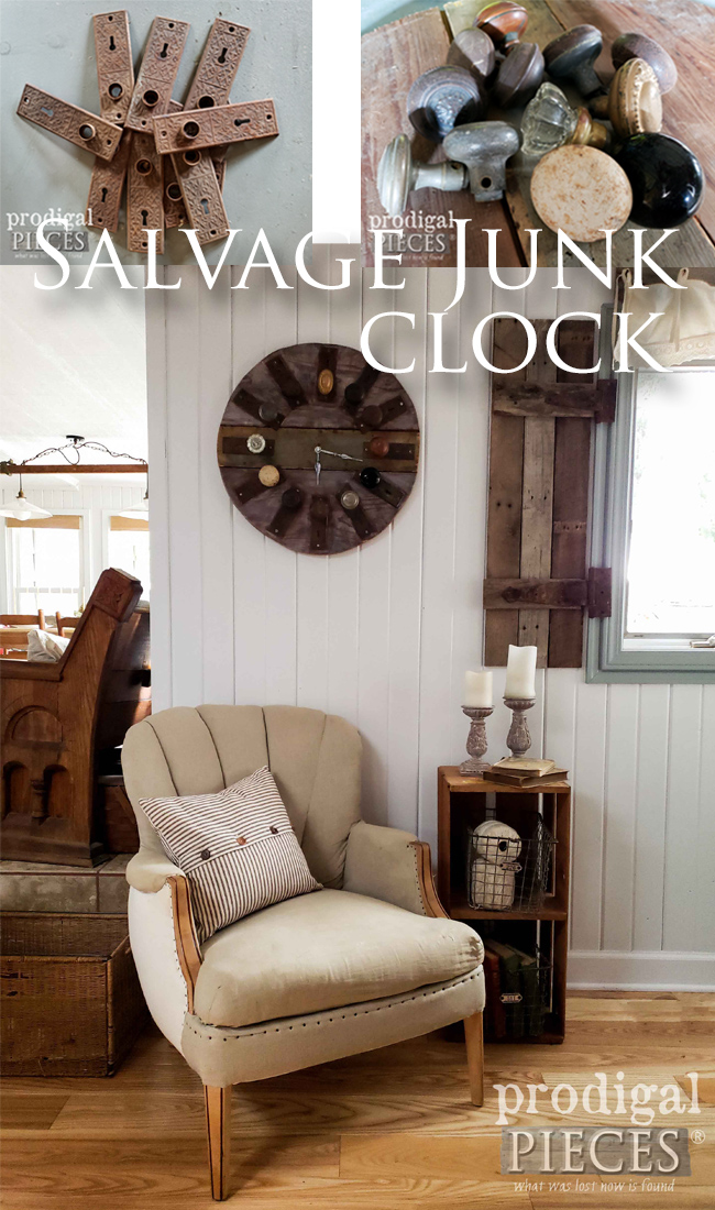 Check out this junkified salvage clock created by Larissa of Prodigal Pieces | Made with antique door knobs and escutcheons on reclaimed wood. Full details at prodigalpieces.com #prodigalpieces #diy #home #homedecor #farmhouse