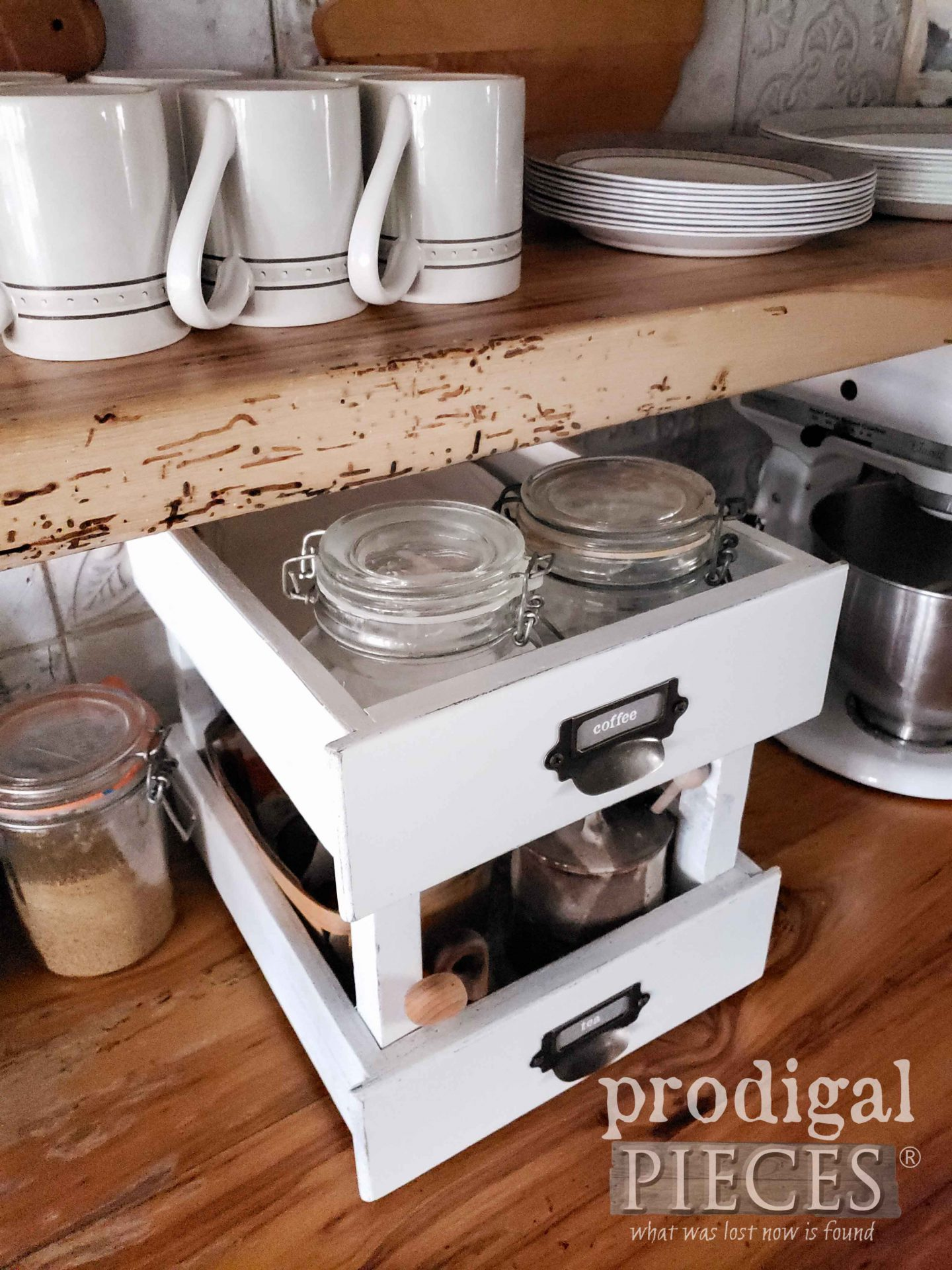 DIY Tiered Drawer Stand created by Larissa of Prodigal Pieces | prodigalpieces.com #prodigalpieces #diy #home #homedecor #farmhouse #upcycled
