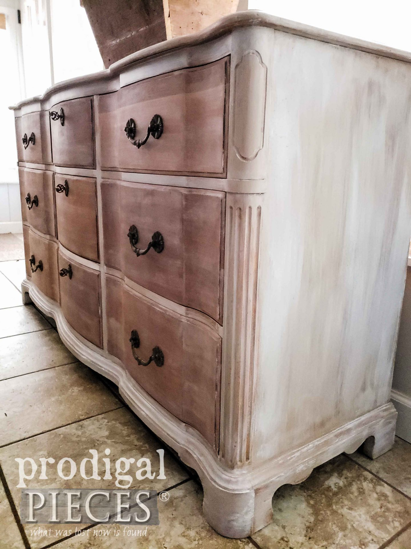 Vintage Serpentine Dresser with Paint Layering Technique by Larissa of Prodigal Pieces | prodigalpieces.com #prodigalpieces #home #farmhouse #french #homedecor #diy #furniture