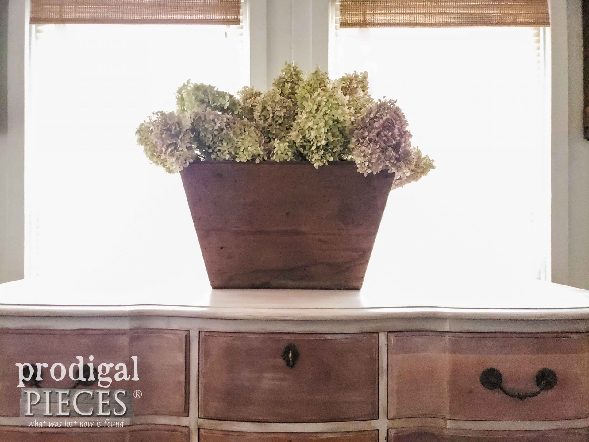 Dried Hydrangea Centerpiece on Vintage Dresser by Larissa of Prodigal Pieces | prodigalpieces.com #prodigalpieces #furniture #home #homedecor