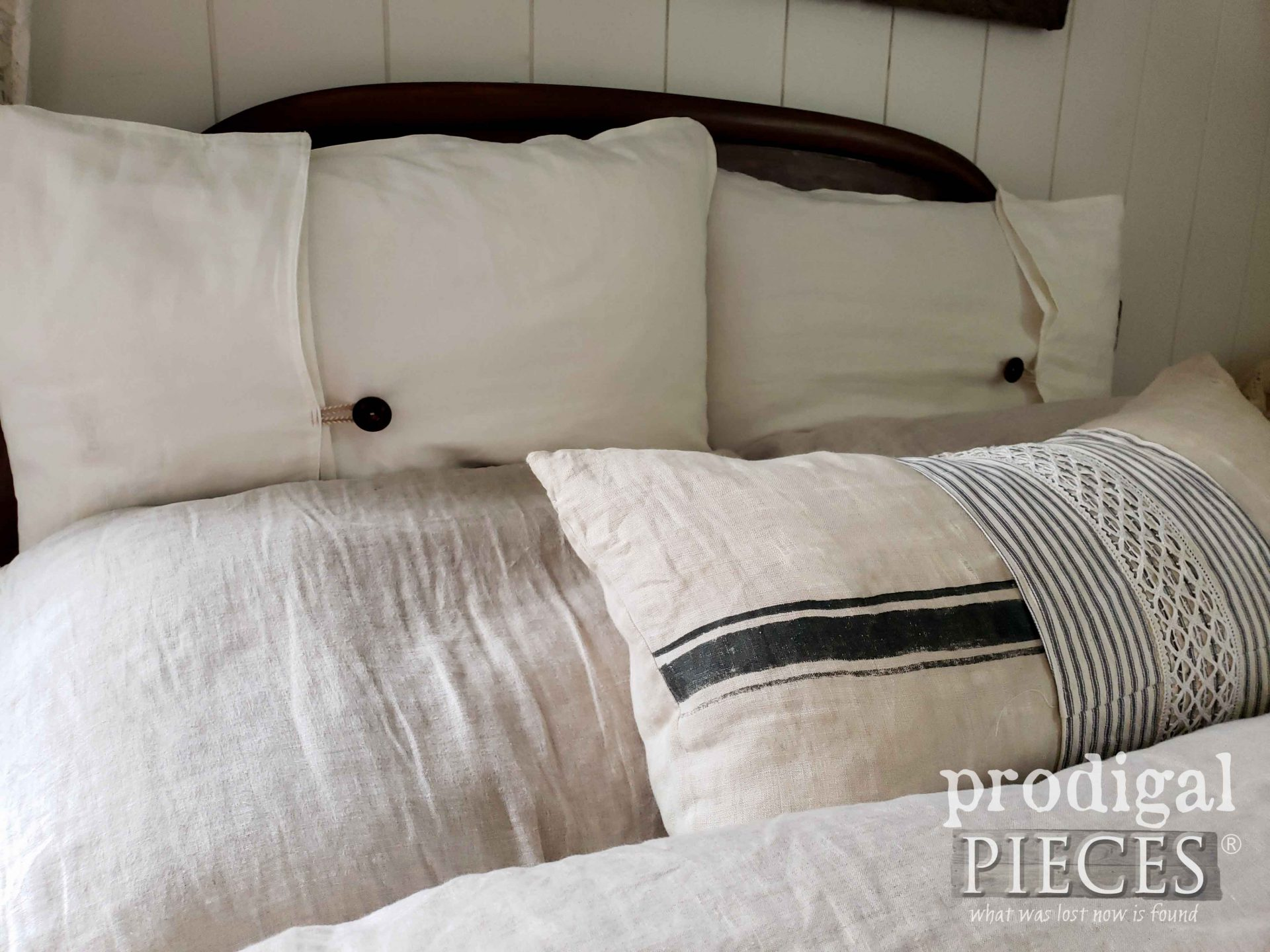 Farmhouse Bed Linens with Handmade Pillows by Larissa of Prodigal Pieces | prodigalpieces.com #prodigalpieces
