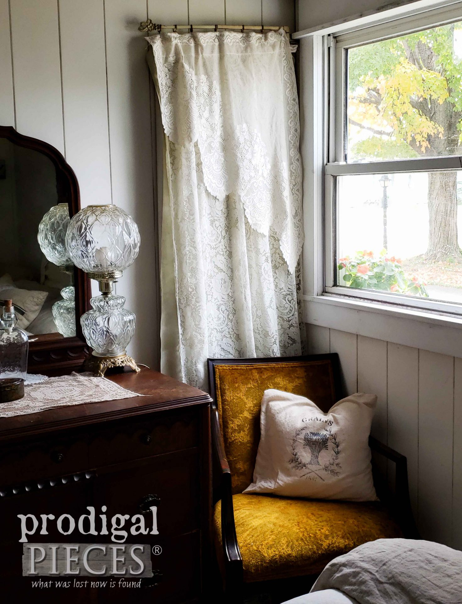 Farmhouse Bedroom Window with Antique Chartreuse Chair by Larissa of Prodigal Pieces | prodigalpieces.com #prodigalpieces #diy #home #homedecor #bedroom #farmhouse #fall