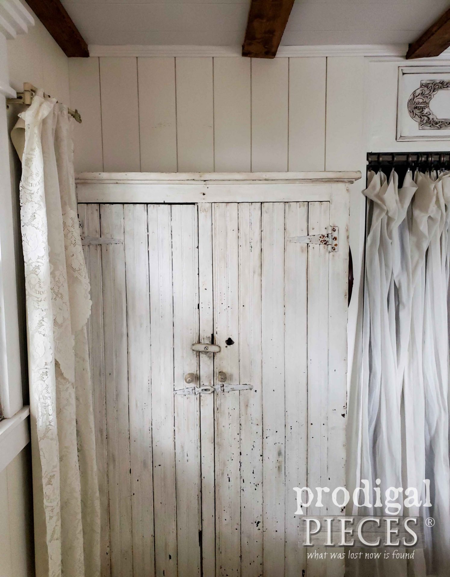 Chippy White Antique Farmhouse Cupboard Before Farmhouse Fall Bedroom Decor | prodigalpieces.com #prodigalpieces #farmhouse