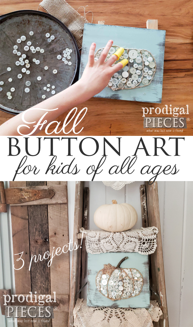 Break out those vintage buttons and create this super cute fall pumpkin button art. Three different projects for you and your kids to create for Prodigal Pieces Kids CREATE | Video tutorial at prodigalpieces.com #prodigalpieces #kids #crafts #pumpkin #fall #home #homedecor #farmhouse