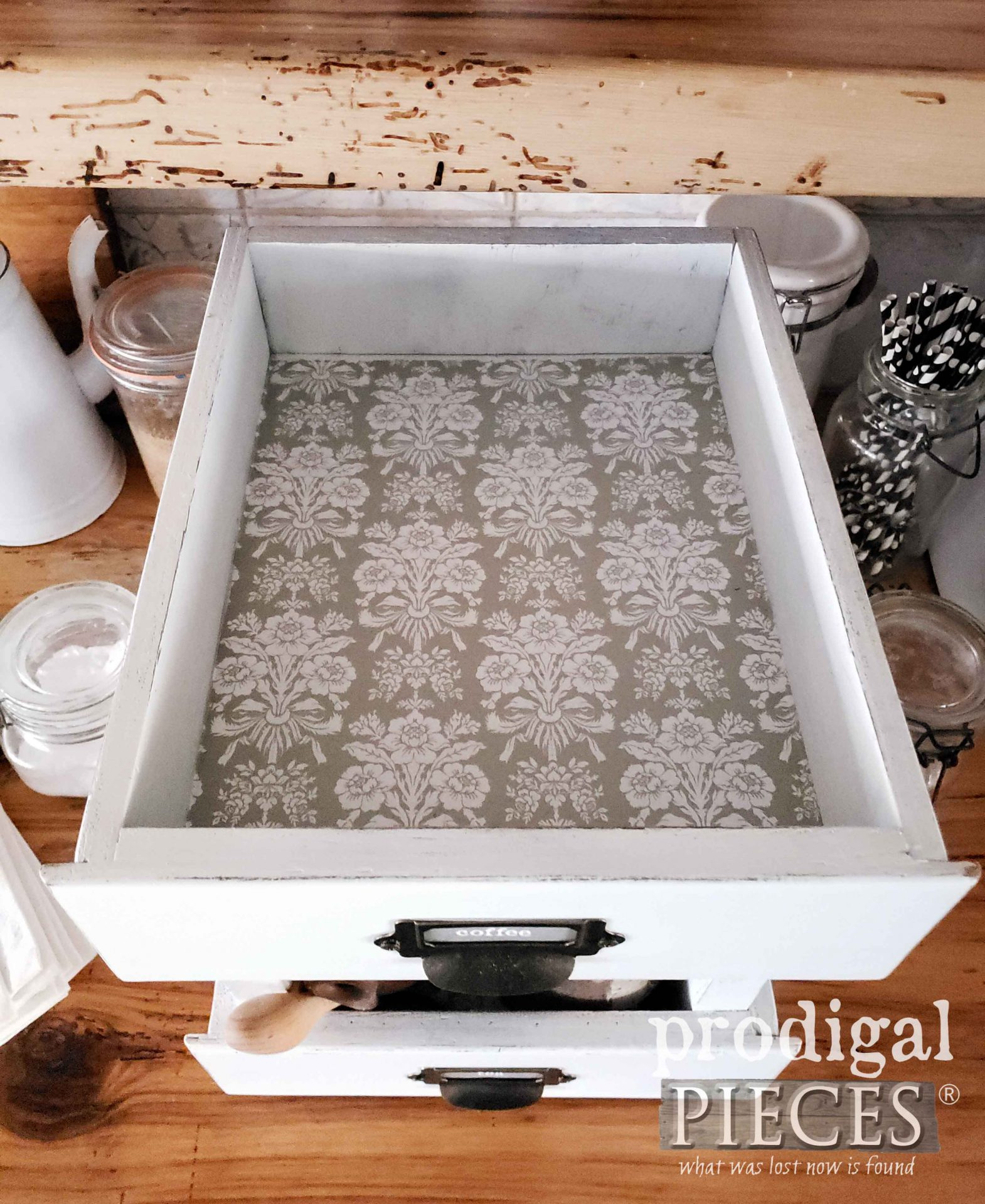 Farmhouse Style DIY Storage Created from Upcycled Drawers by Larissa of Prodigal Pieces | prodigalpieces.com #prodigalpieces #farmhouse #diy #storage #home #homedecor