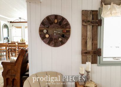 Featured Wooden Salvage Clock made from reclaimed antique door knobs and escutcheons by Larissa of Prodigal Pieces | prodigalpieces.com #prodigalpieces #diy #handmade #clock #farmhouse #home #homedecor