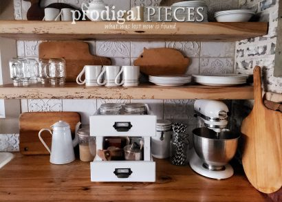 Featured Upcycled Drawers Tiered Stand DIY by Larissa of Prodigal Pieces | prodigalpieces.com #prodigalpieces #trashure #farmhouse #diy #home #homedecor #storage