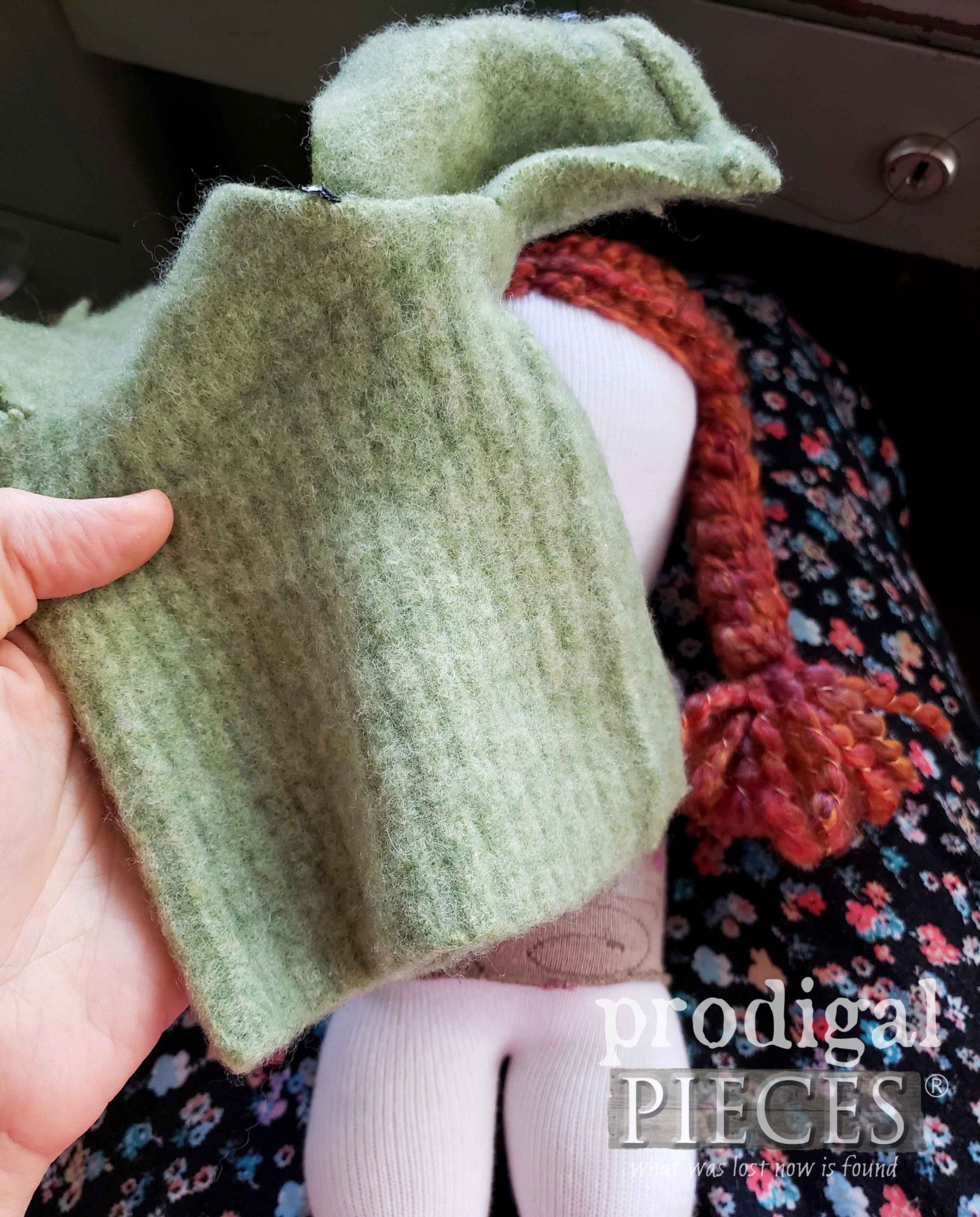 Felted Wool Sweater Sleeve for Making Upcycled Sock Dolls Hats   prodigalpieces.com