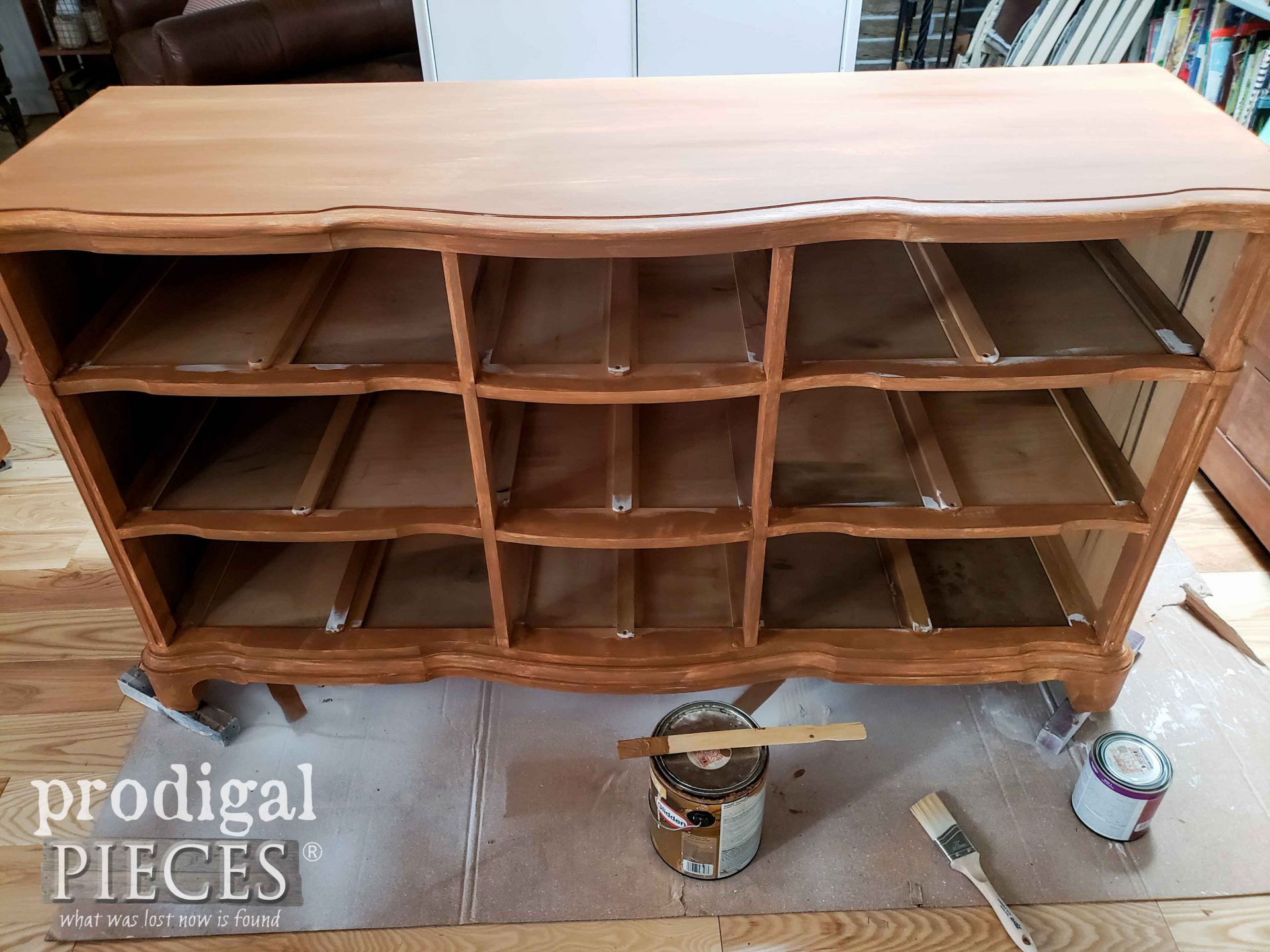 First Paint Layer on Serpentine Dresser | prodigalpieces.com #prodigalpieces