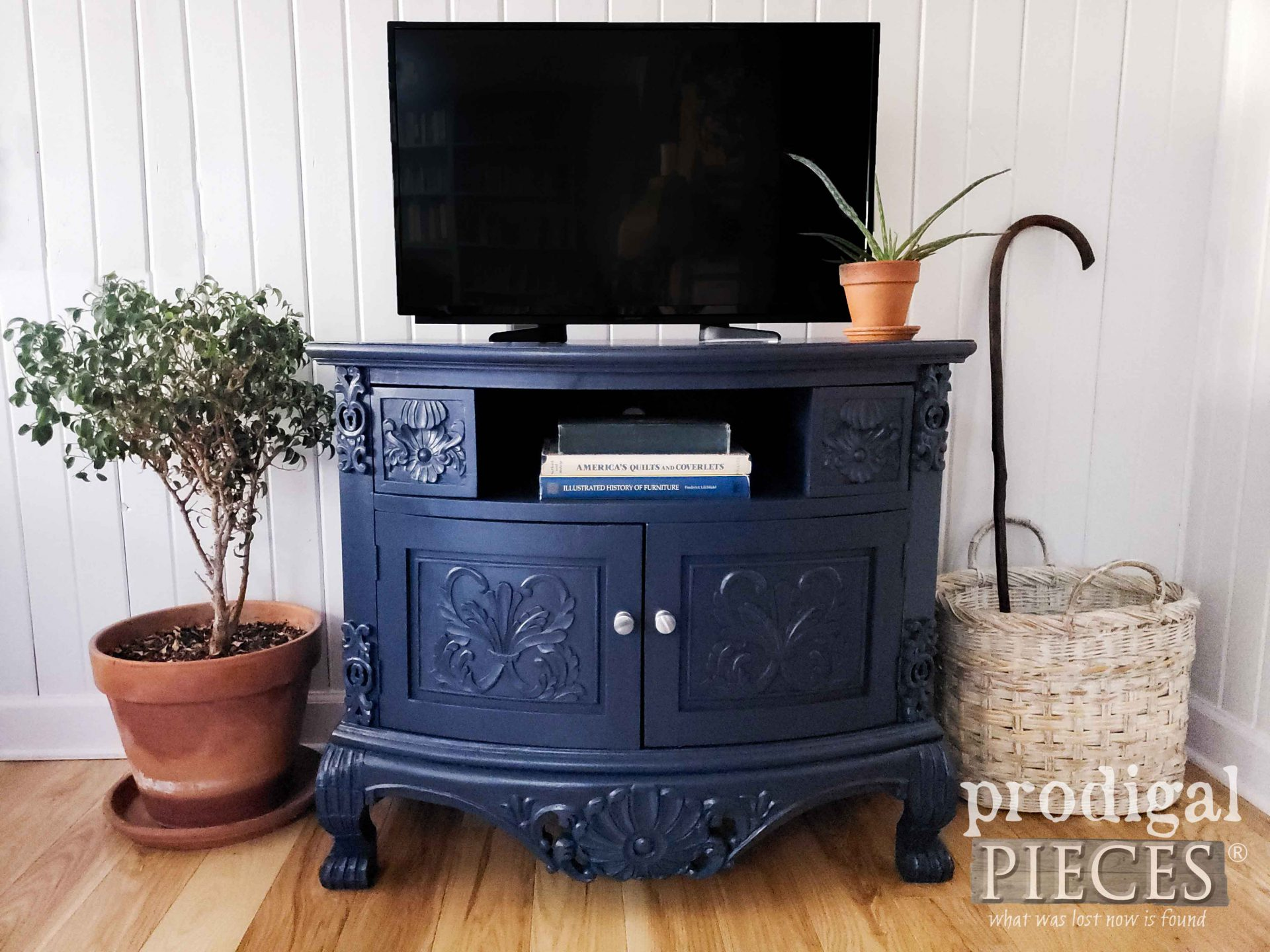 Hale Navy Blue Painted Entertainment Center with Tutorial by Larissa of Prodigal Pieces | prodigalpieces.com #prodigalpieces #furniture #diy #home #boho #homedecor