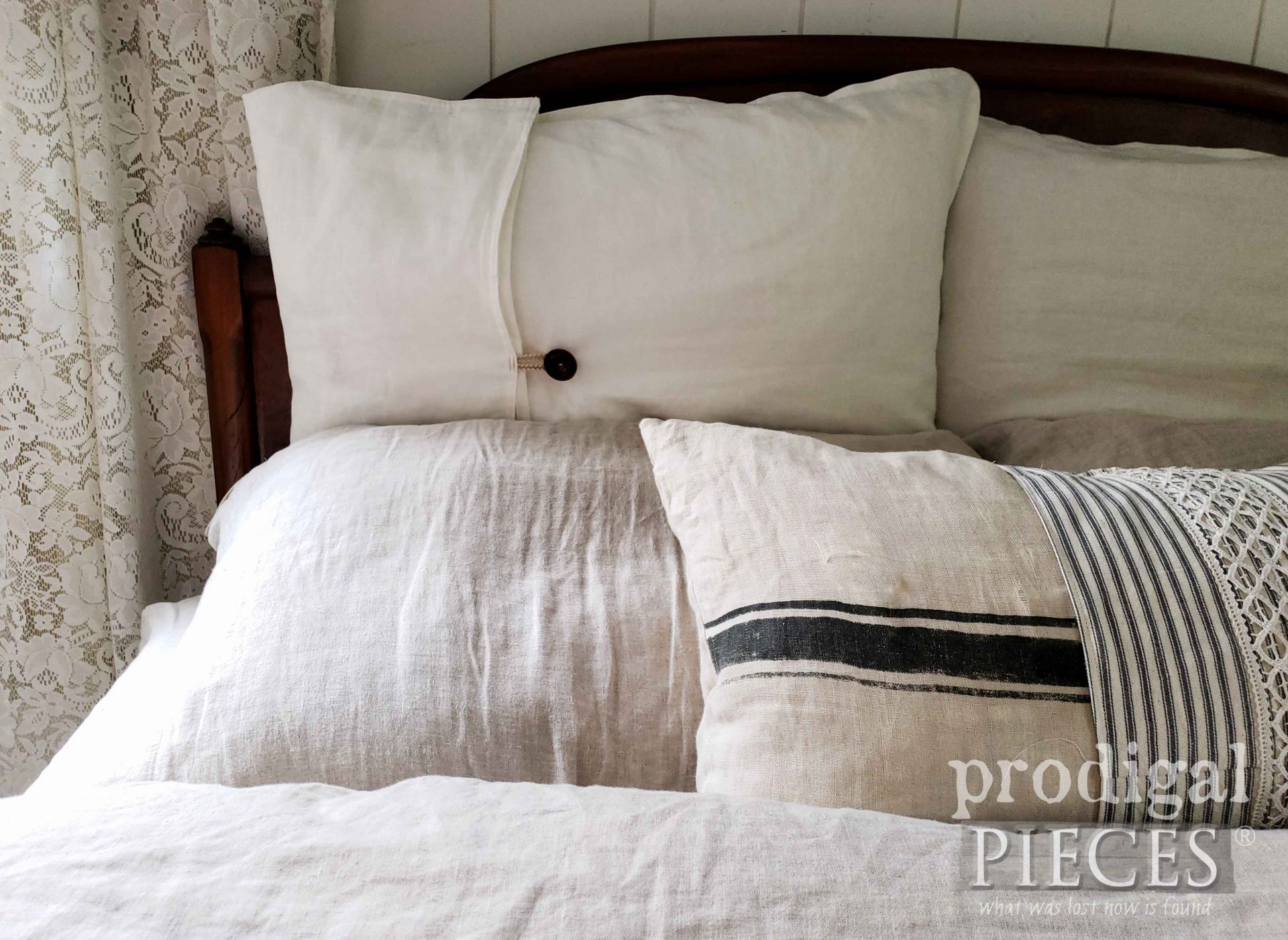 Handmade Linen Pillows with Ticking Stripes | prodigalpieces.com #prodigalpieces