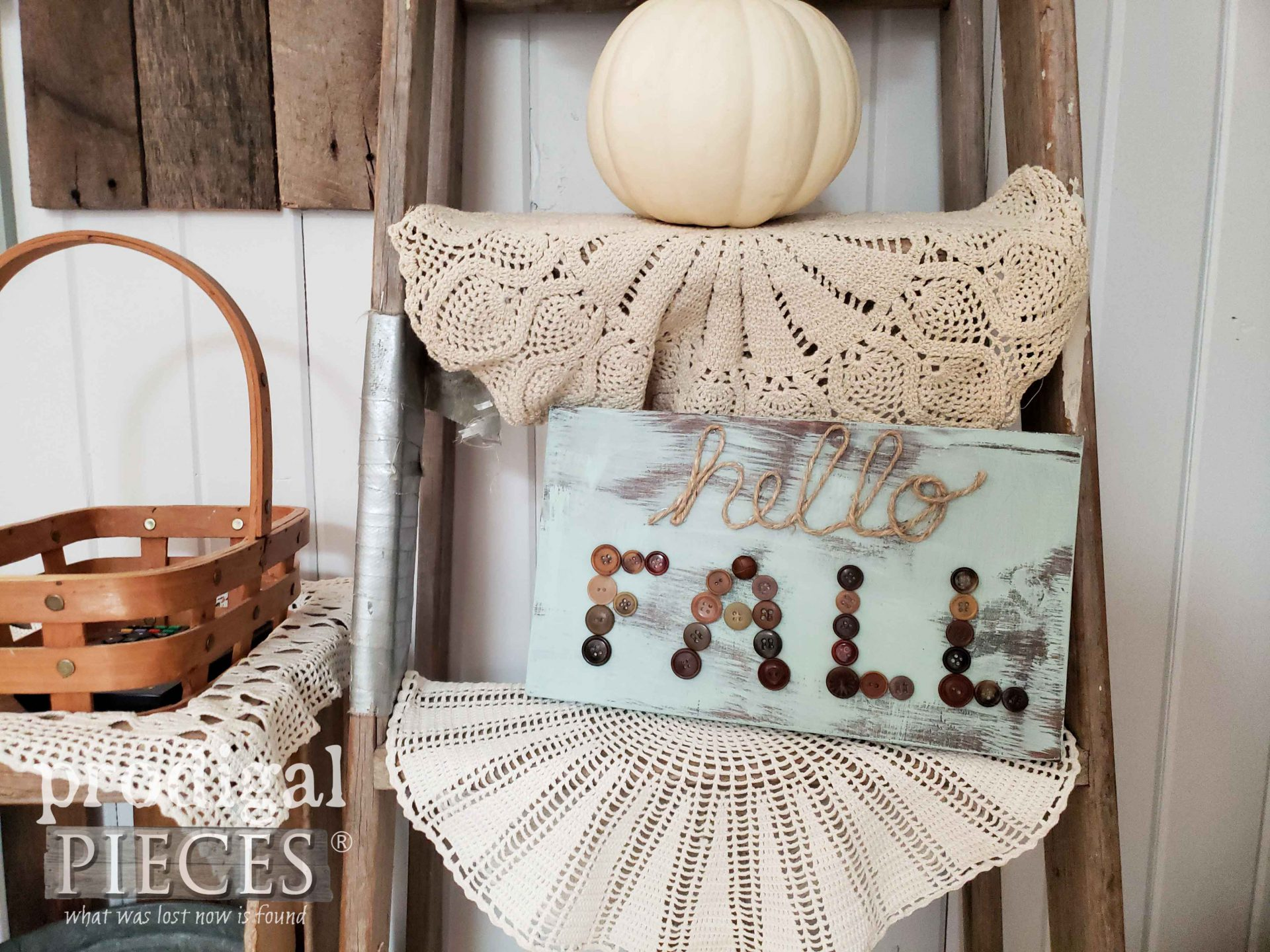 Hello Fall Button Art Created by Prodigal Pieces | prodigalpieces.com #prodigalpieces #diy #farmhouse #handmade #home #homedecor #kids #crafts