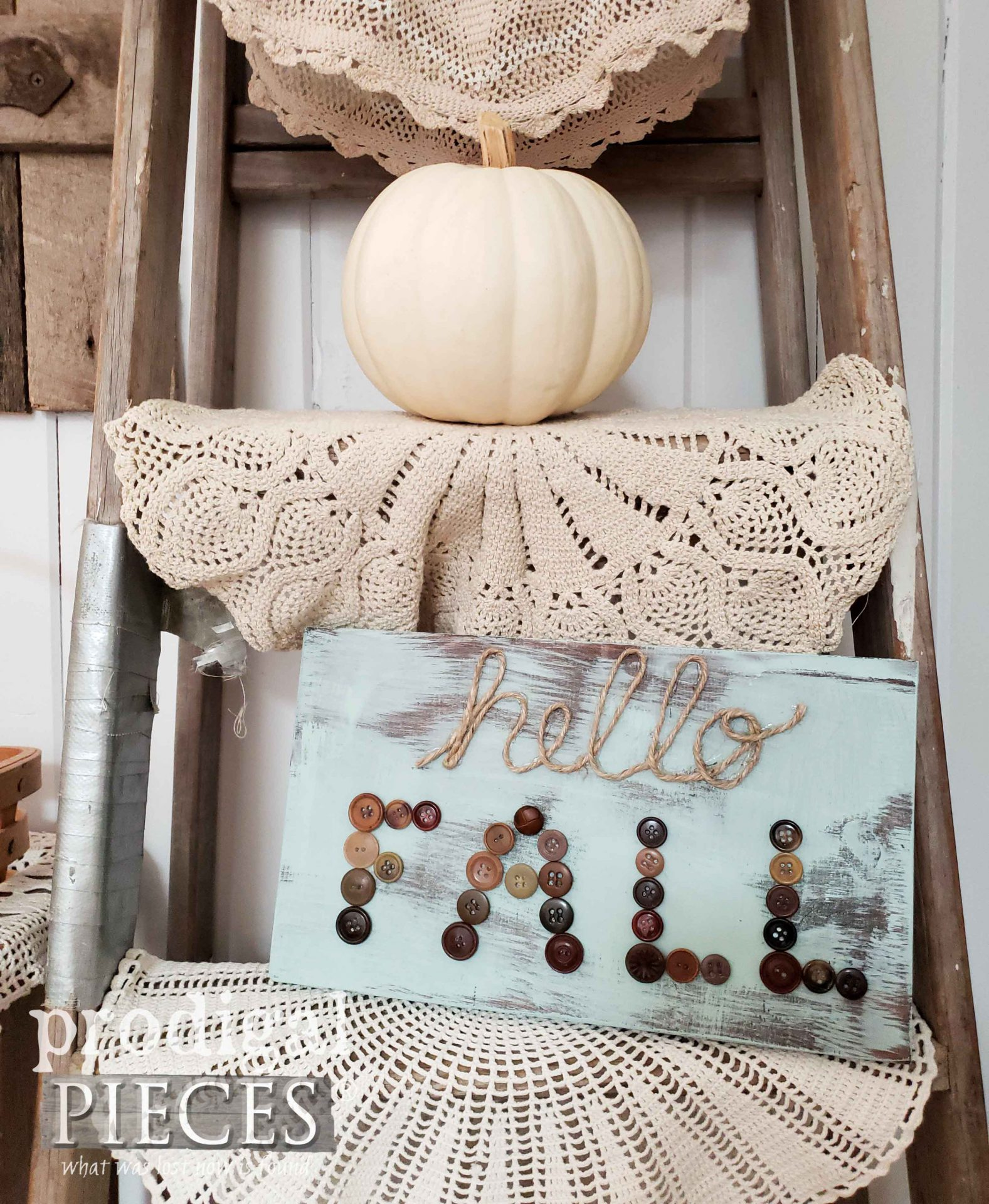 Hello Fall Handmade Sign with Vintage Buttons and Twine by Prodigal Pieces | prodigalpieces.com #prodigalpieces #fall #handmade #home #farmhouse #homedecor