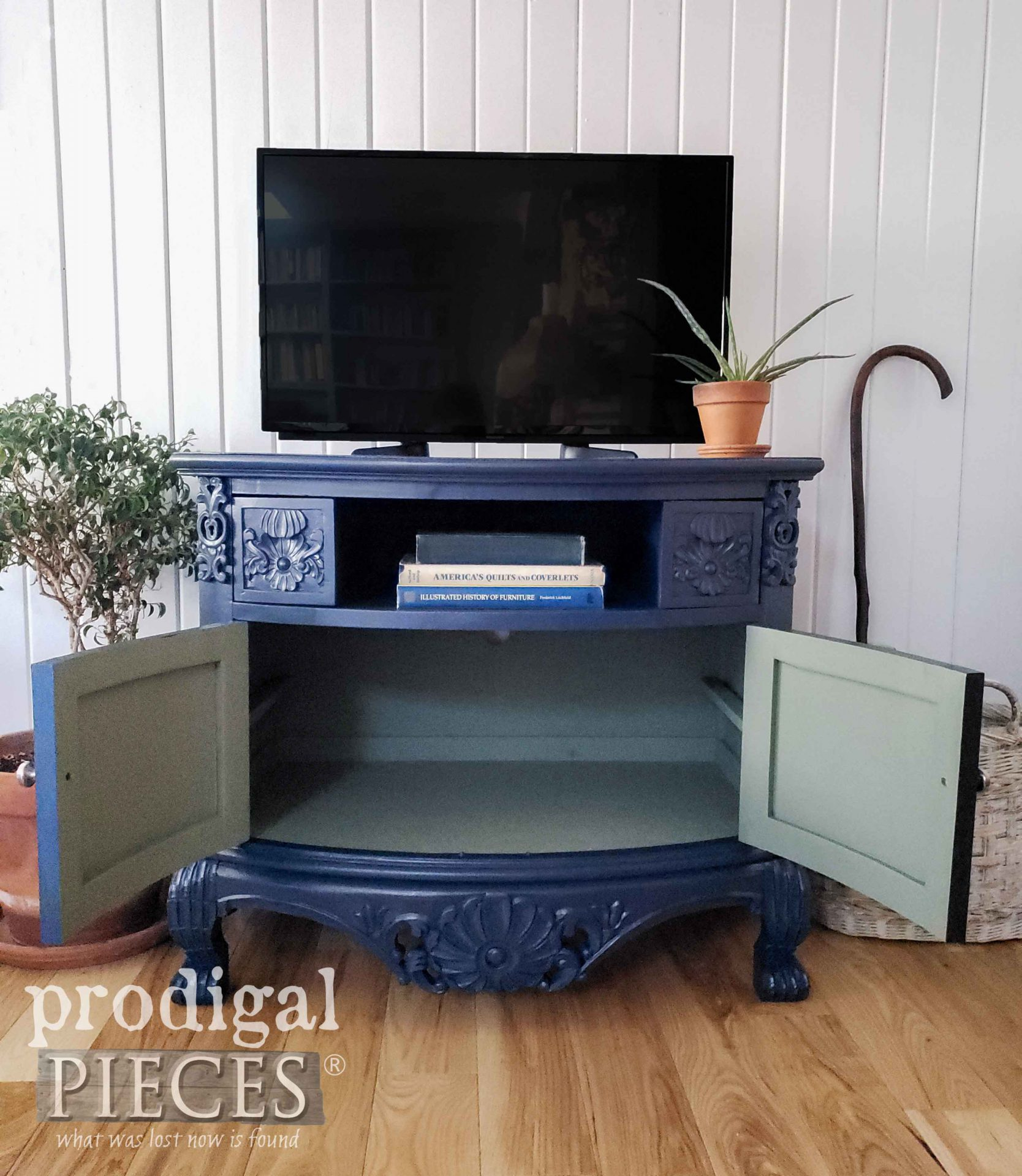 Blue Entertainment Stand with Soft Green Interior by Prodigal Pieces | prodigalpieces.com #prodigalpieces #diy #home #homedecor #furniture #modernchic
