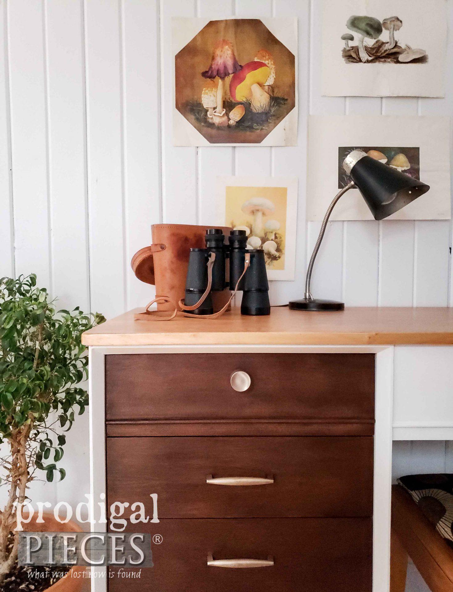 Mid Century Modern Desk Drawer with Original Brass Knobs by Larissa of Prodigal Pieces | prodigalpieces.com #prodigalpieces #furniture #diy #home #homedecor #midcentury #modern #vintage