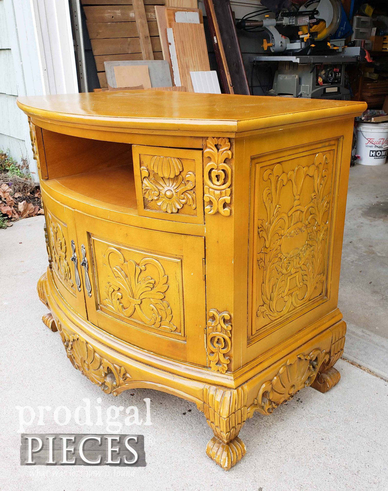Ornate Entertainment Stand Before Being Painted by Prodigal Pieces | prodigalpieces.com
