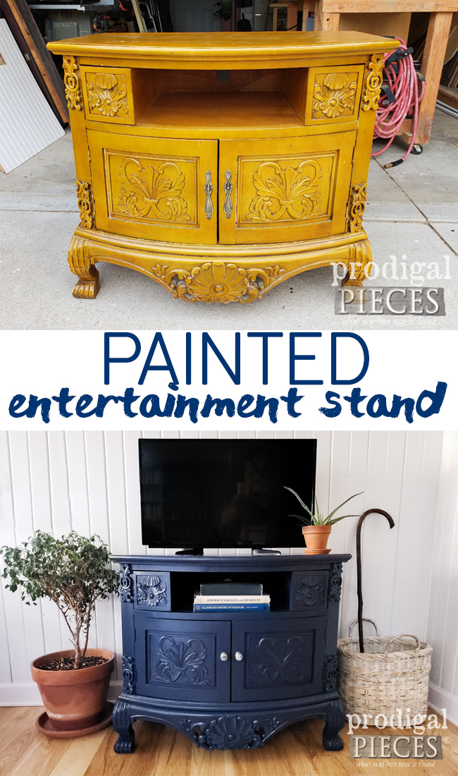 Bring a color pop to your home with a painted entertainment stand. Larissa of Prodigal Pieces shows you how at prodigalpieces.com #prodigalpieces #furniture #diy #home #homedecor #paint