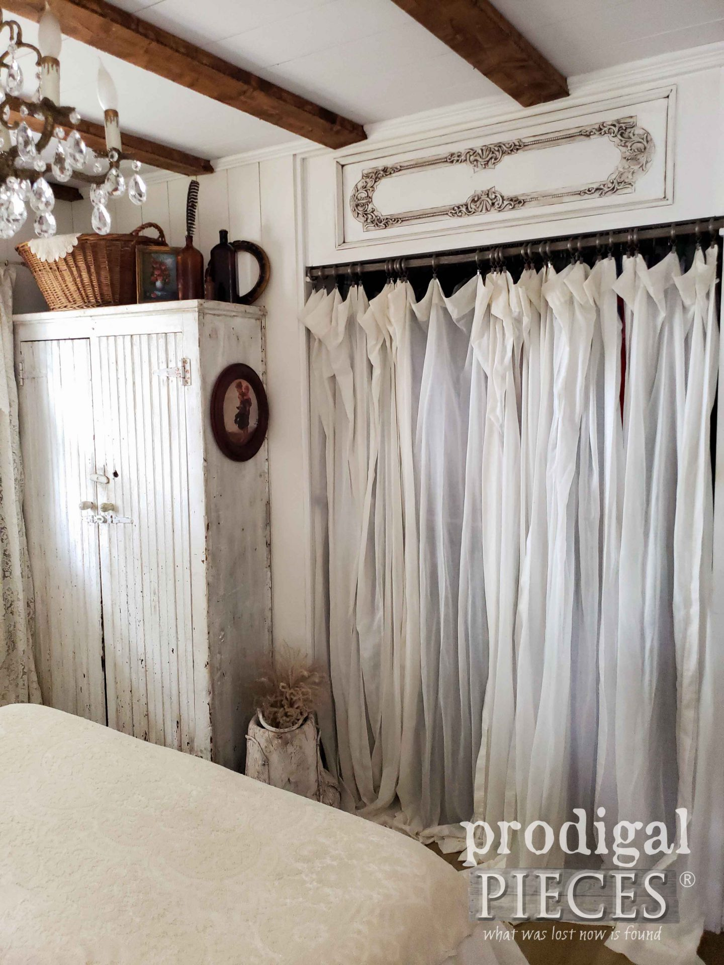 Reclaimed Piano Face as Closet Transom in Farmhouse Bedroom by Larissa of Prodigal Pieces | prodigalpieces.com #prodigalpieces #bedroom #home #farmhouse #homedecor