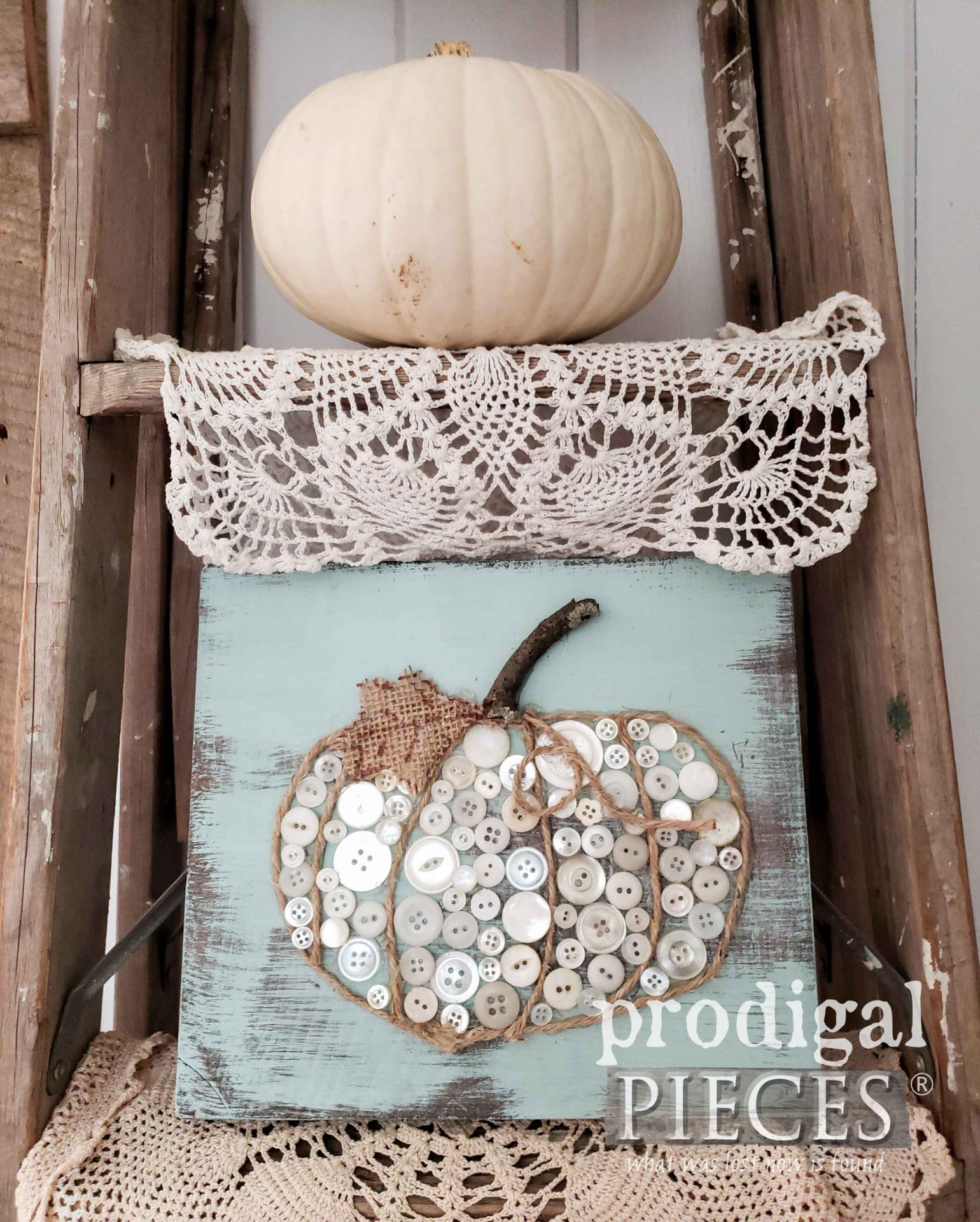 Rustic Farmhouse Button Pumpkin Video Tutorial by Prodigal Pieces Kids CREATE | prodigalpieces.com | #prodigalpieces #diy #kids #crafts #pumpkin #home #homedecor