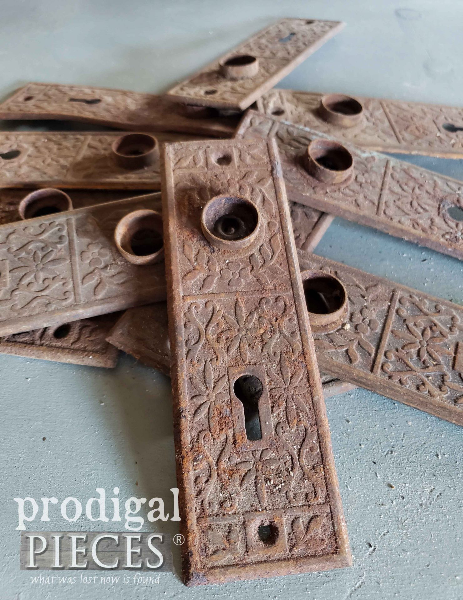 Rusty Patina on these Antique Door Knob Backplates | prodigalpieces.com