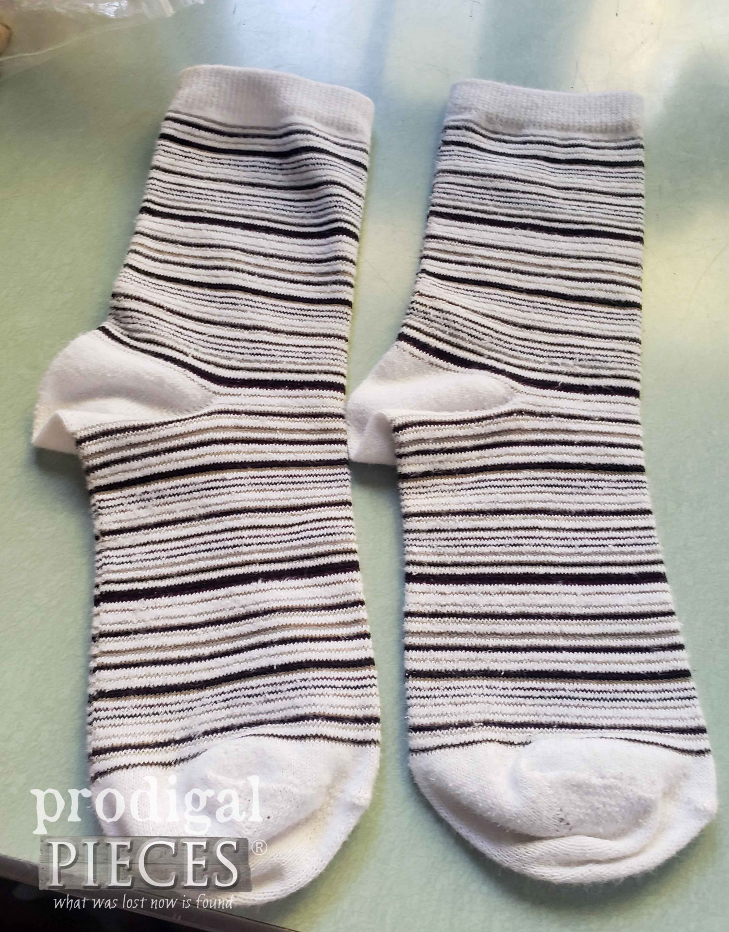 Striped Socks Before Upcycle | prodigalpieces.com #prodigalpieces
