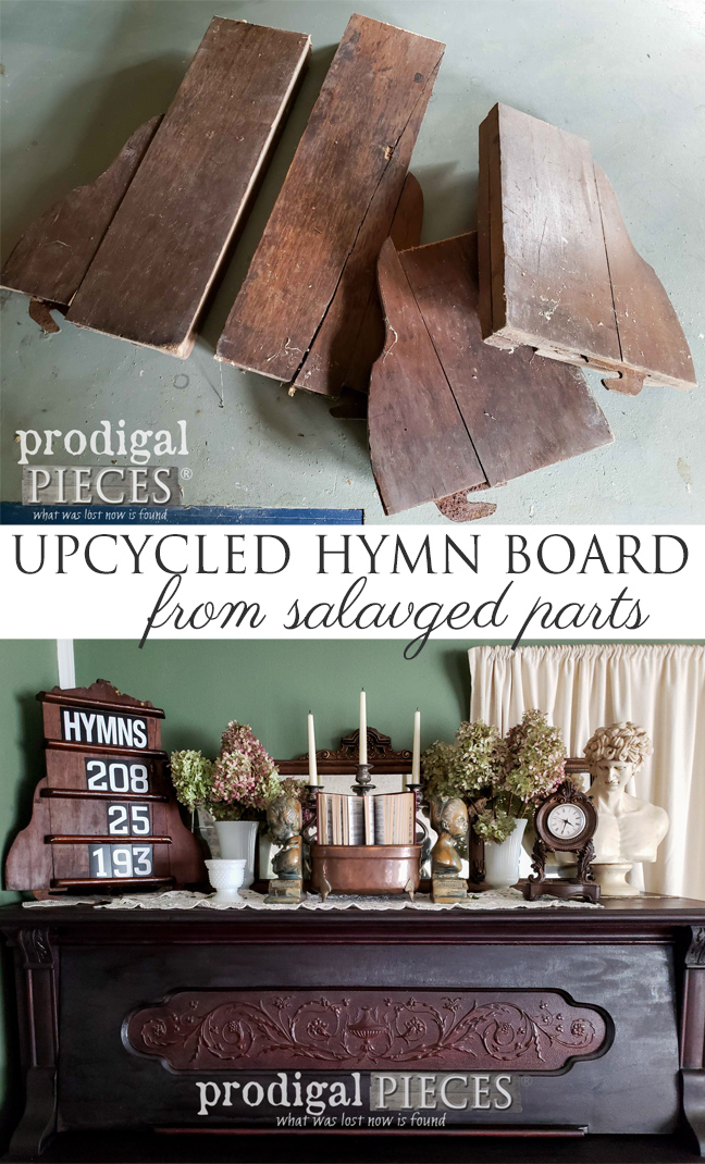 Check out how Larissa of Prodigal Pieces created this Upcycled Hymn Board for her home with Salvaged Parts | Details at prodigalpieces.com #prodigalpieces #diy #handmade #home #antique #homedecor #farmhouse
