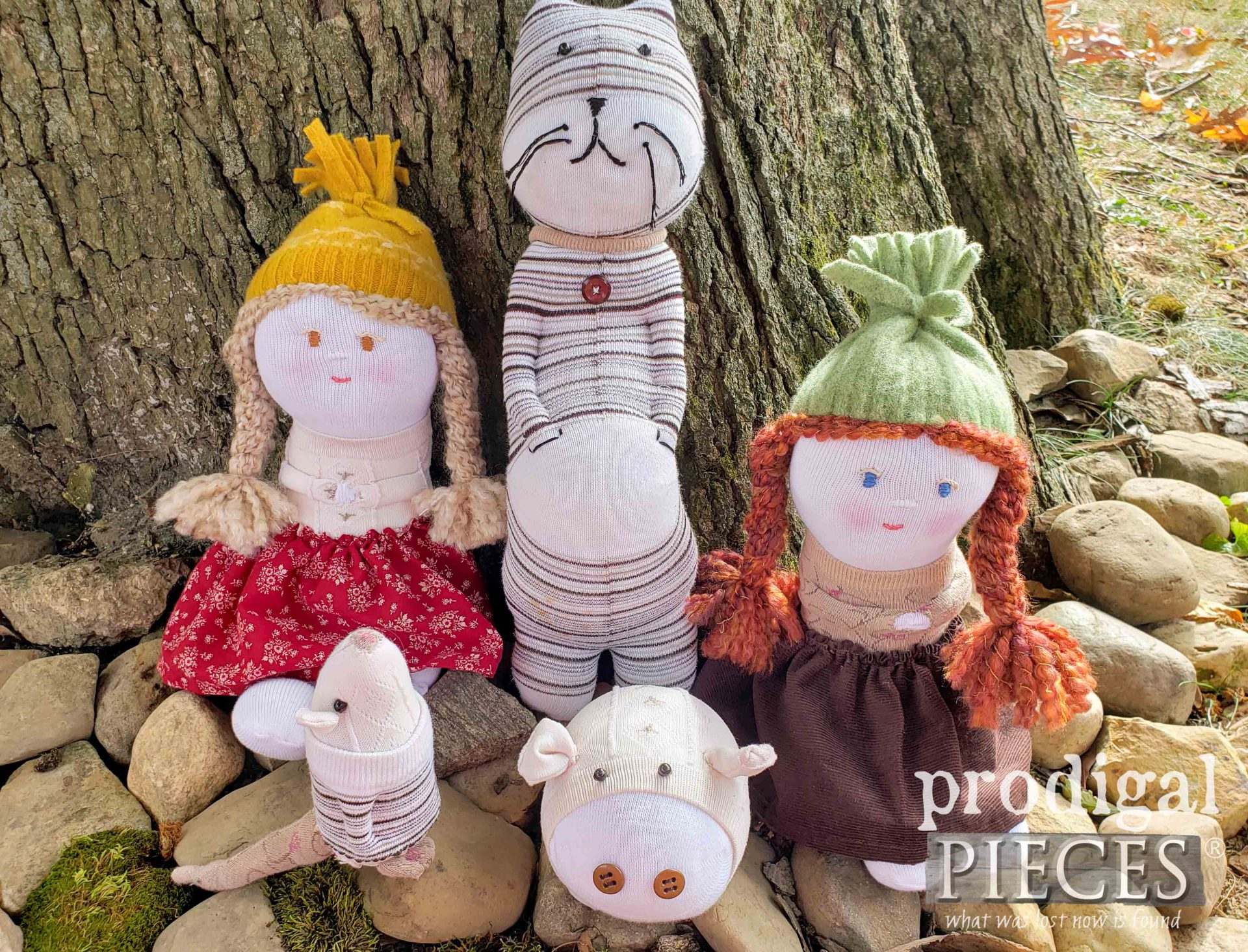 Family of Upcycled Sock Dolls & Animals Handmade by Larissa of Prodigal Pieces | prodigalpieces.com #prodigalpieces #handmade #toys #kids #sewing #crafts