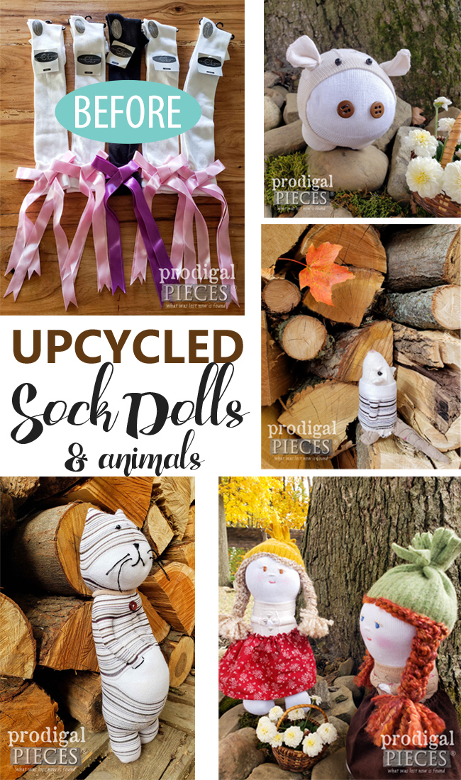 Sew much fun! You can create these upcycled sock dolls & animals with just a few supplies. It all starts with SOCKS! Head to Prodigal Pieces to get the DIY details | prodigalpieces.com #prodigalpieces #diy #handmade #toys #dolls #crafts #giftidea #kids