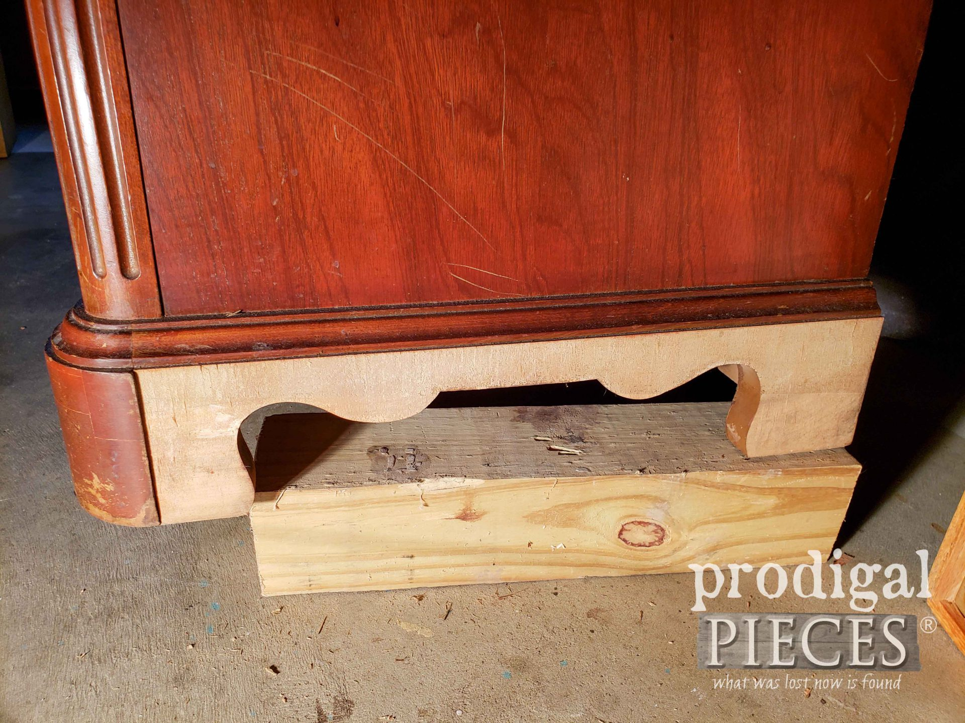Veneer Removed from Serpentine Dresser Sides | prodigalpieces.com #prodigalpieces