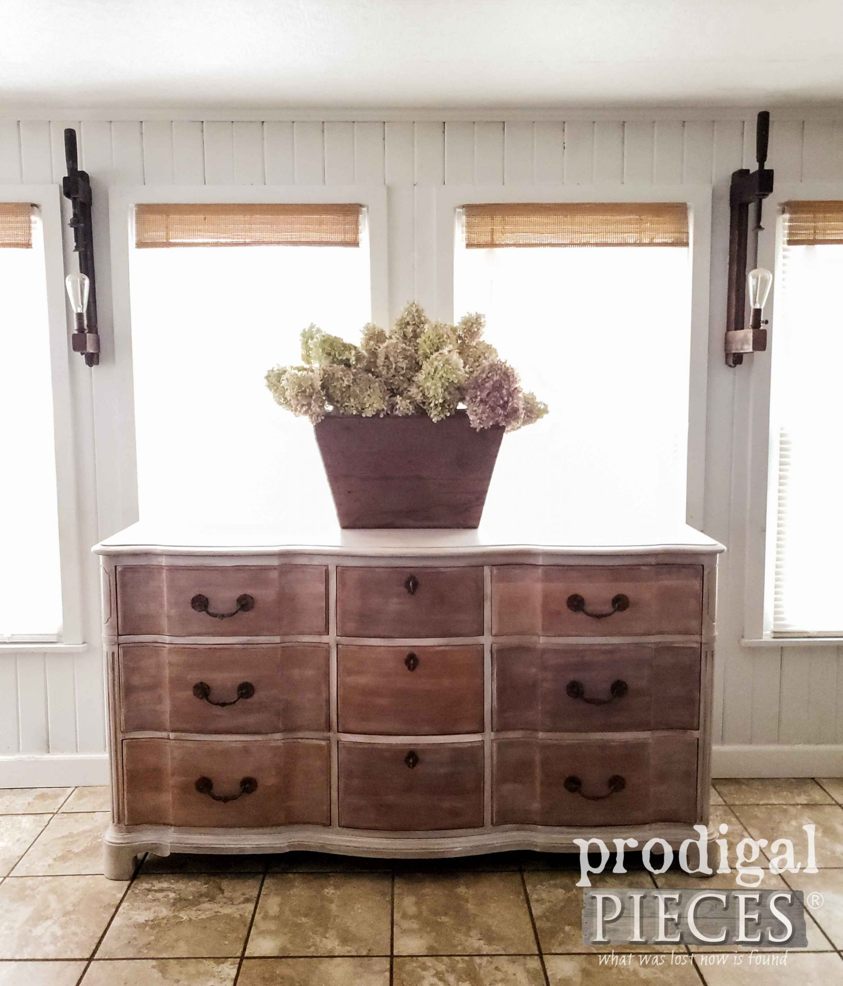 Gorgeous Vintage Serpentine Dresser with Paint Layering Technique by Larissa of Prodigal Pieces | prodigalpieces.com #prodigalpieces #diy #home #homedecor #furniture #farmhouse