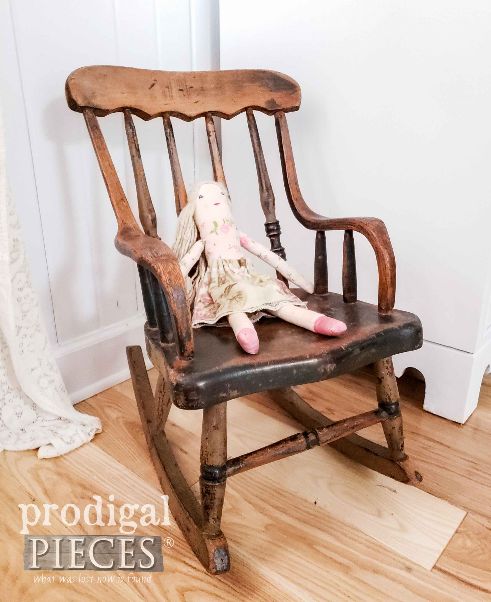Antique Child's Rocking Chair with Handmade Doll by Larissa of Prodigal Pieces | prodigalpieces.com #prodigalpieces #antique #handmade #doll #baby #home #homedecor