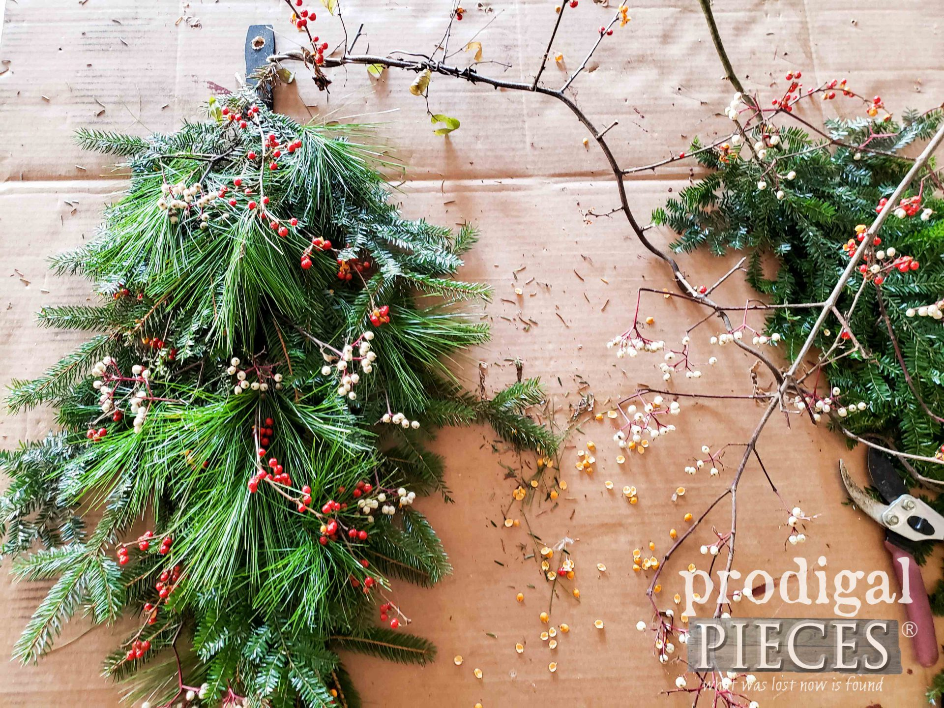 Assembled Christmas Tree Swag Before Bow by Larissa of Prodigal Pieces | prodigalpieces.com