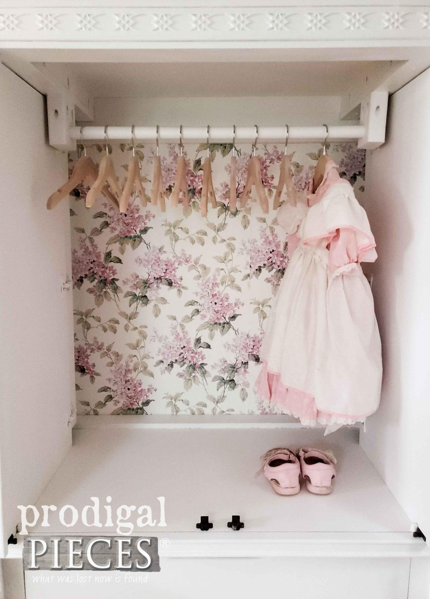 Baby Girl Clothing Wardrobe made from Upcycled Entertainment Center by Larissa of Prodigal Pieces | prodigalpieces.com #prodigalpieces #diy #home #homedecor #baby #nursery #diy #furniture