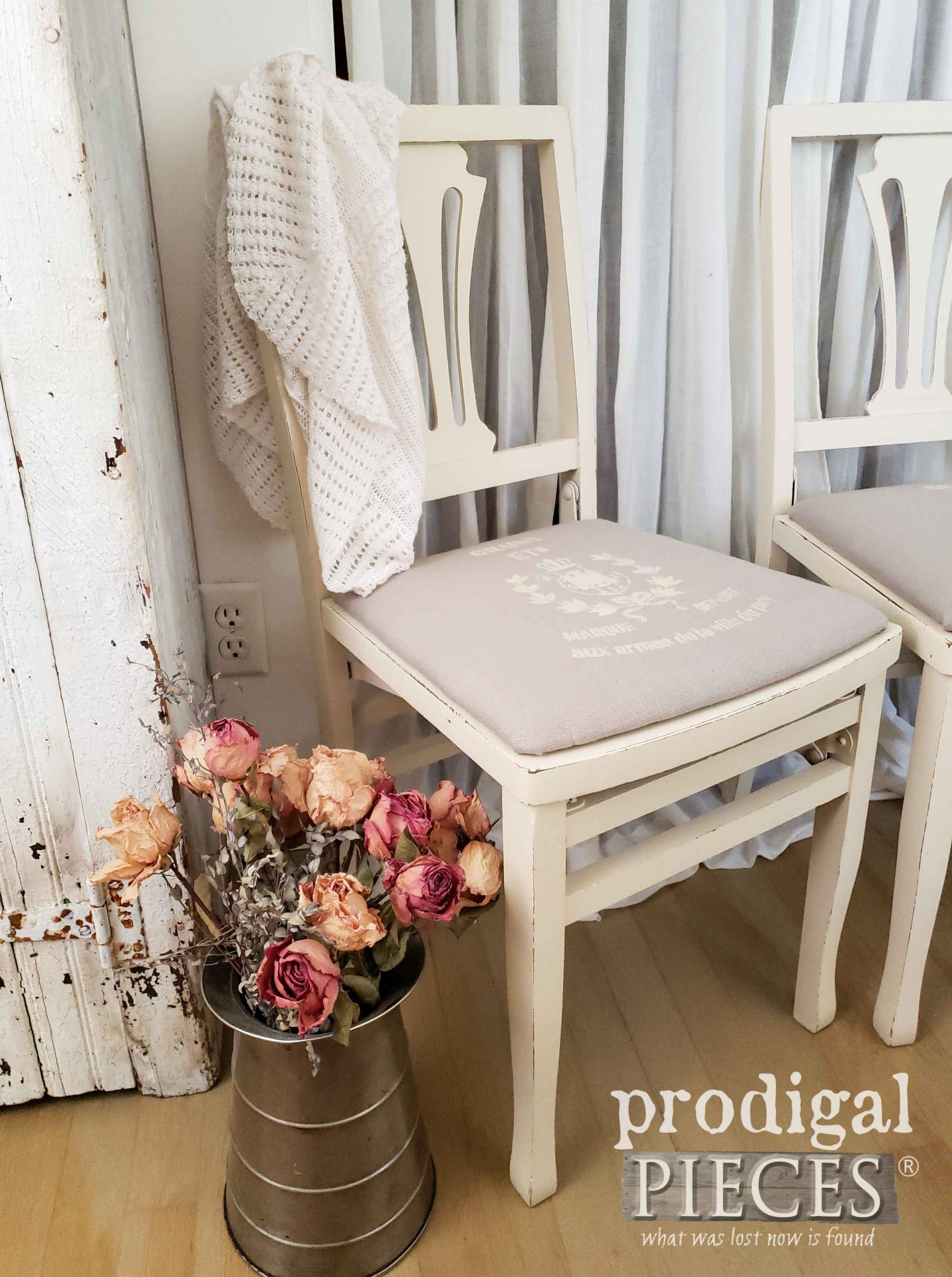 Creamy Antique White Upholstered Chairs with Grain Sack Stencil by Larissa of Prodigal Pieces | prodigalpieces.com #prodigalpieces #diy #home #homedecor #furniture #farmhouse