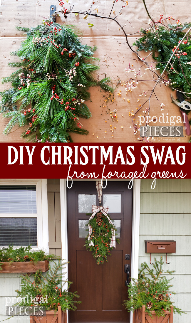Skip the box store and head out to forage your own greens to create this DIY Christmas swag & planters. It's easy, affordable and fun! Video tutorial by Larissa of Prodigal Pieces at prodigalpieces.com #prodigalpieces #diy #christmas #video #home #homedecor #holiday #budgetfriendly #nordic #farmhouse