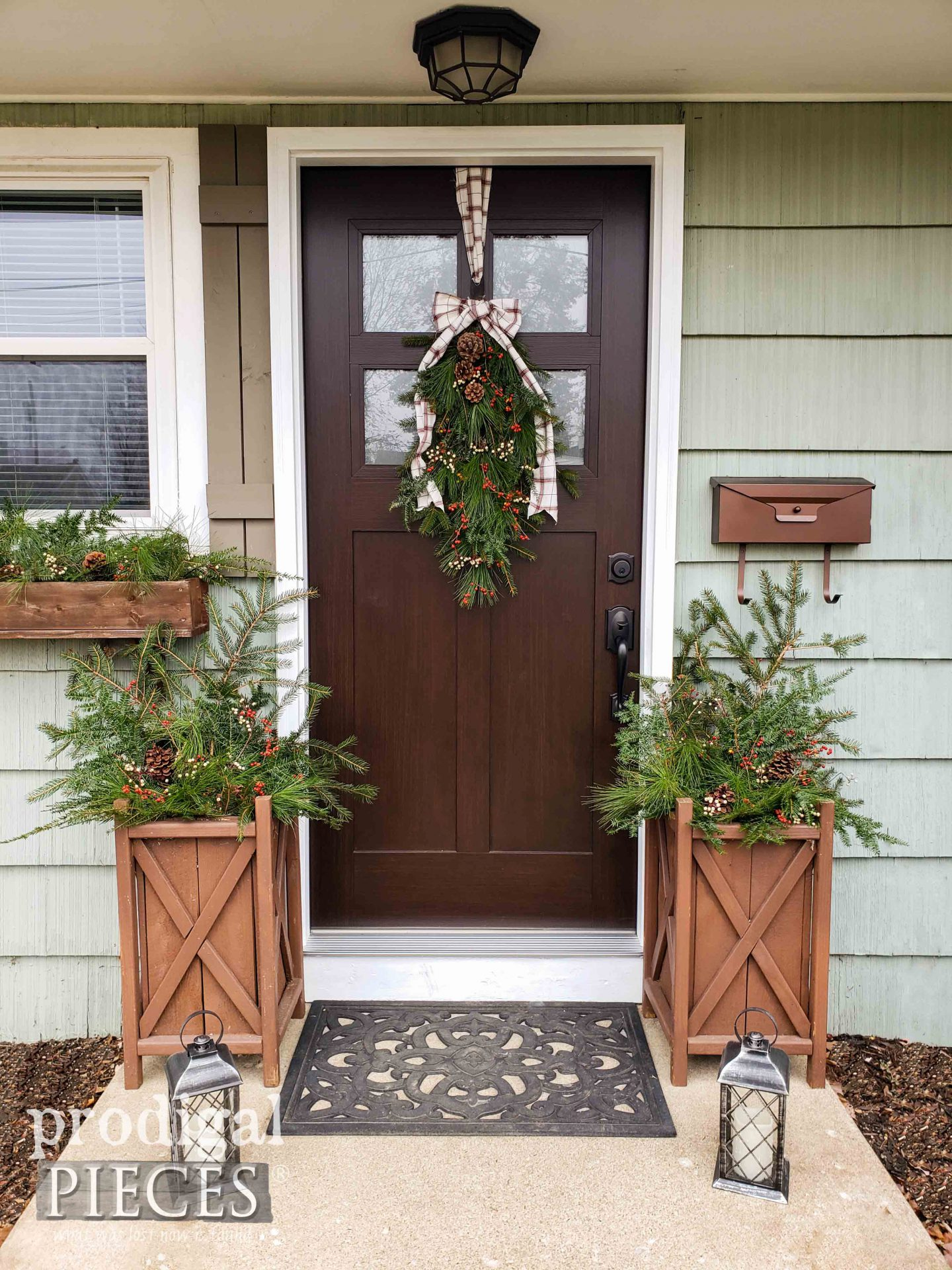 Farmhouse Christmas Front Door Decor with DIY Swag, Window Box, and Planter Tutorial by Larissa of Prodigal Pieces | prodigalpieces.com #farmhouse #diy #christmas #home #homedecor #nordic #fresh
