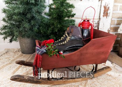 Featured Upcycled Christmas Sleigh made from Curbside Finds by Larissa of Prodigal Pieces | prodigalpieces.com #prodigalpieces #diy #christmas #home #homedecor #farmhouse #handmade