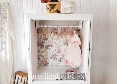 Featured Upcycled Entertainment Center turned into Child's Wardrobe by Larissa of Prodigal Pieces | prodigalpieces.com #prodigalpieces #furniture #diy #home #homedecor #kids #nursery