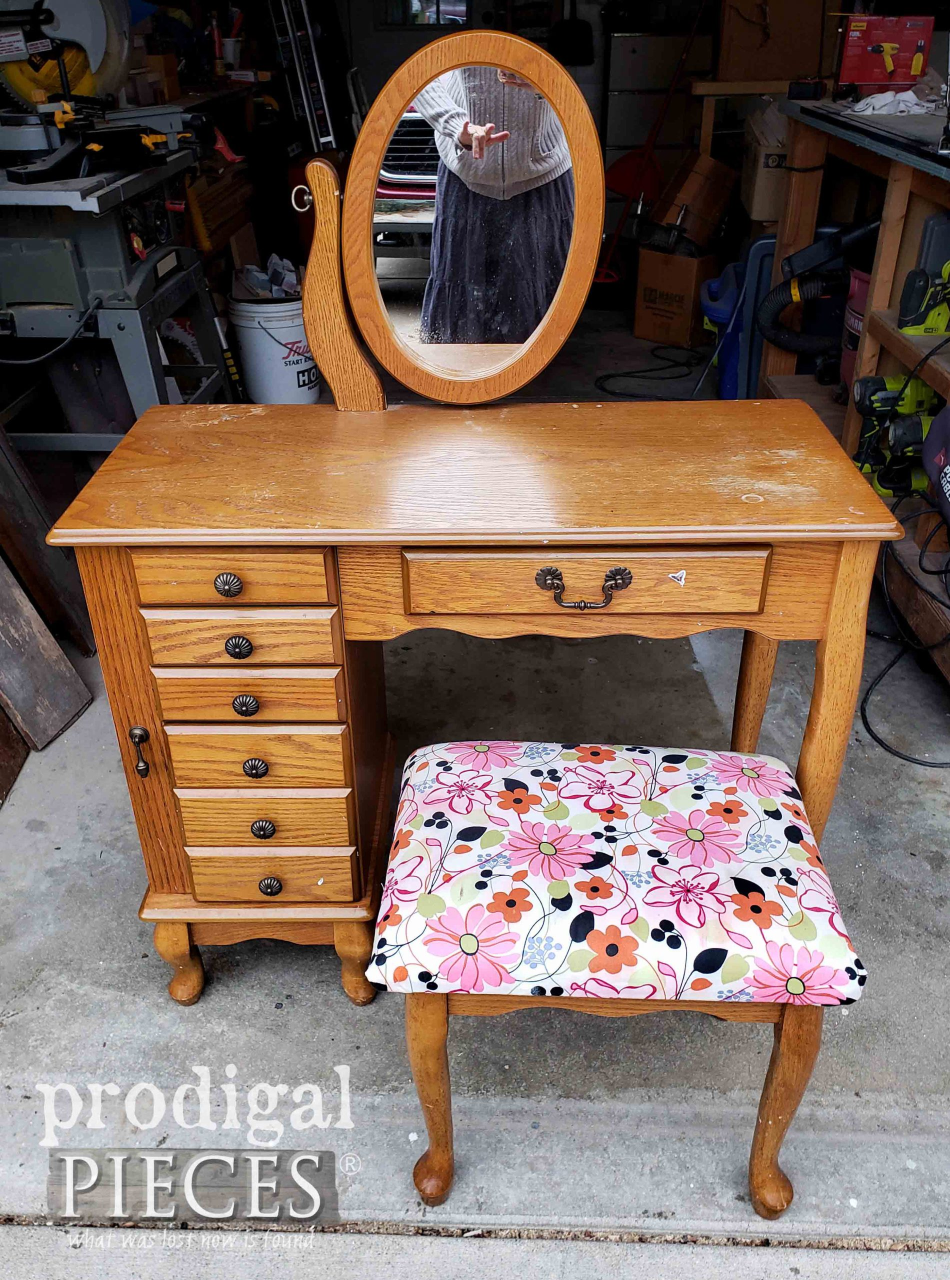 Girl's Vanity Table Set Before Makeover by Prodigal Pieces | prodigalpieces.com